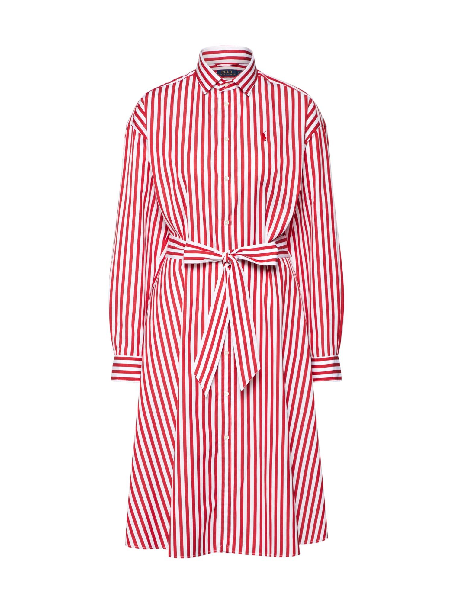 Košilové šaty LS ELA SD-LONG SLEEVE-CASUAL DRESS červená bílá POLO RALPH LAUREN