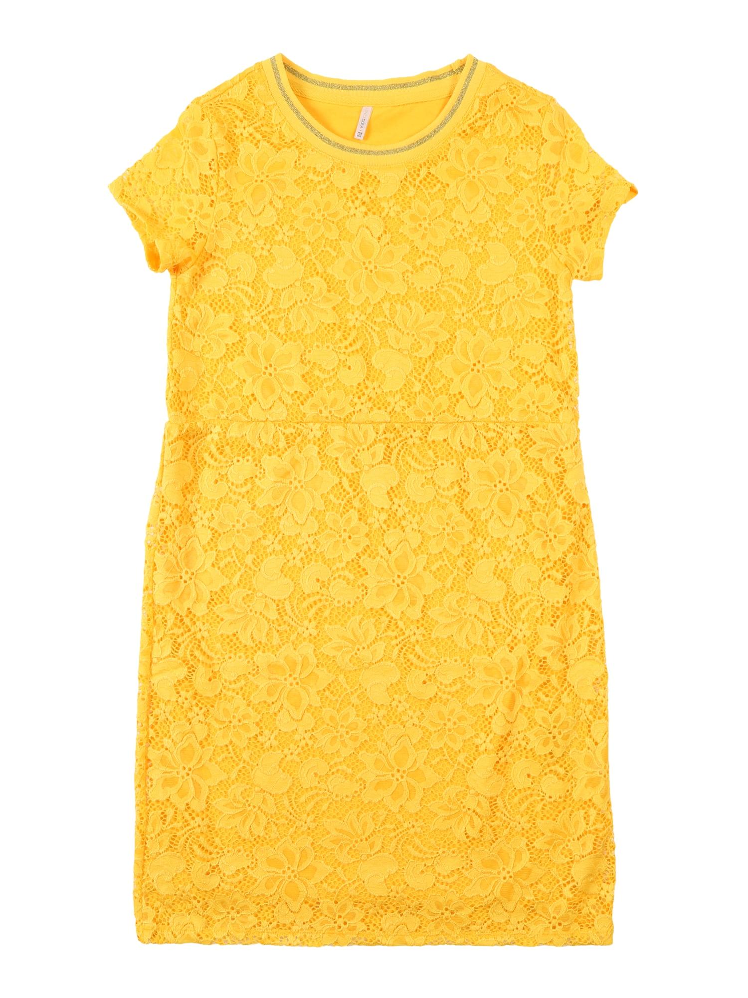 Šaty konAMAZE SS O-NECK DRESS JRS žlutá KIDS ONLY