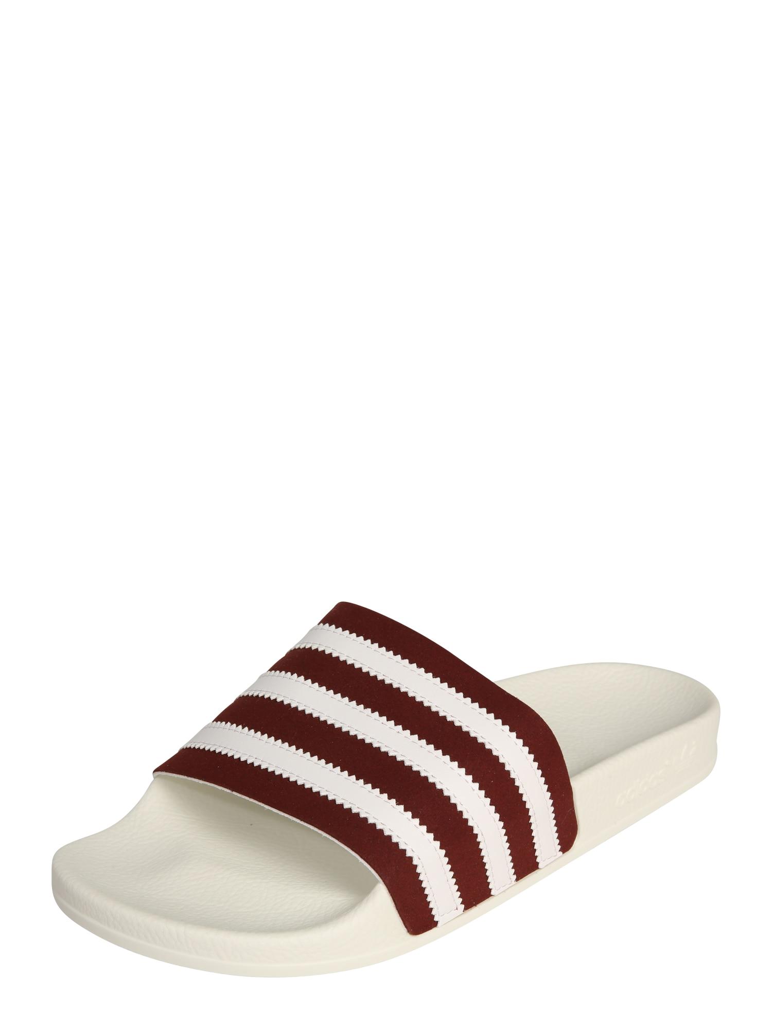 Pantofle Adilette bordó bílá ADIDAS ORIGINALS