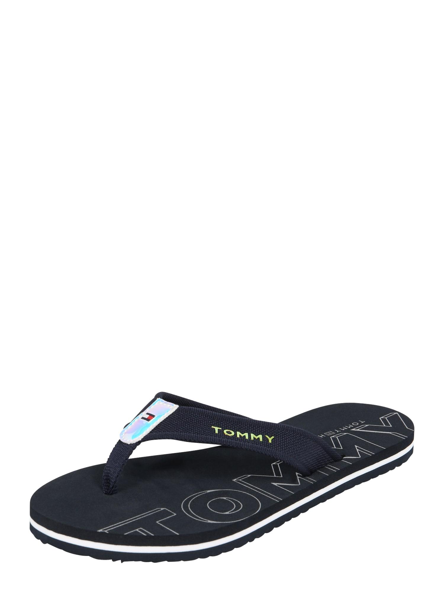 Pantofle IRIDESCENT DETAIL BEACH SANDAL černá TOMMY HILFIGER