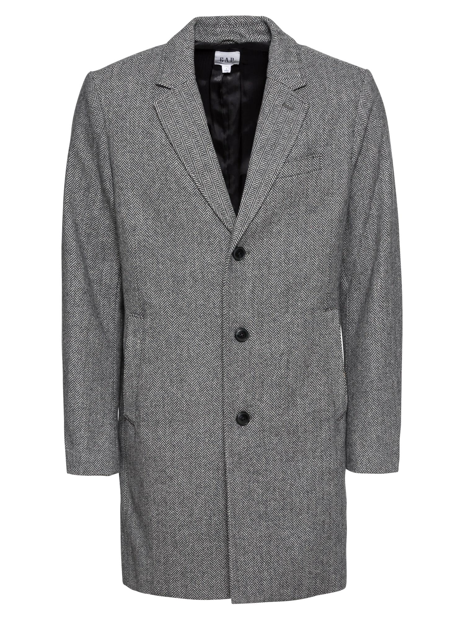 Přechodný kabát WOOL-BLEND HERRINGBONE TOPCOAT šedá černá GAP