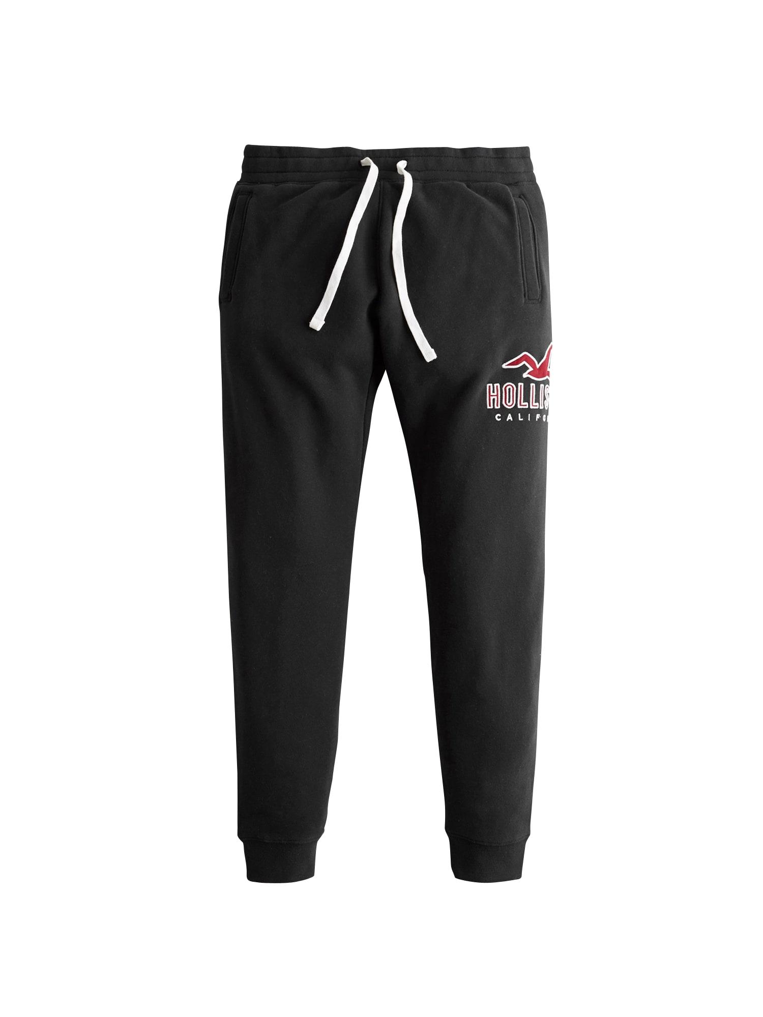 Kalhoty ICONIC LOGO červená černá bílá HOLLISTER