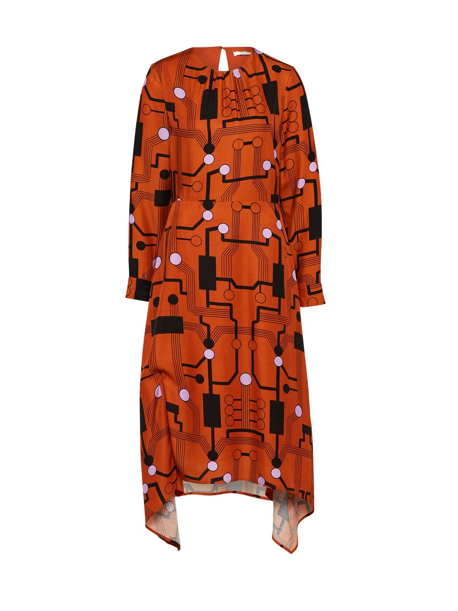 Šaty POSROSE  tmavě oranžová černá bílá POSTYR