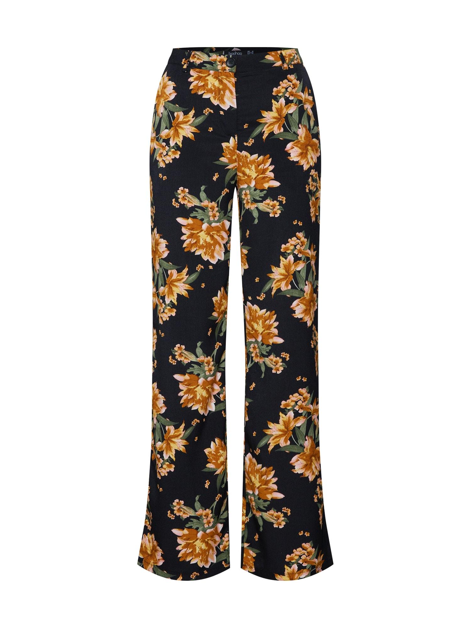 Kalhoty Floral Trouser gelb schwarz Boohoo