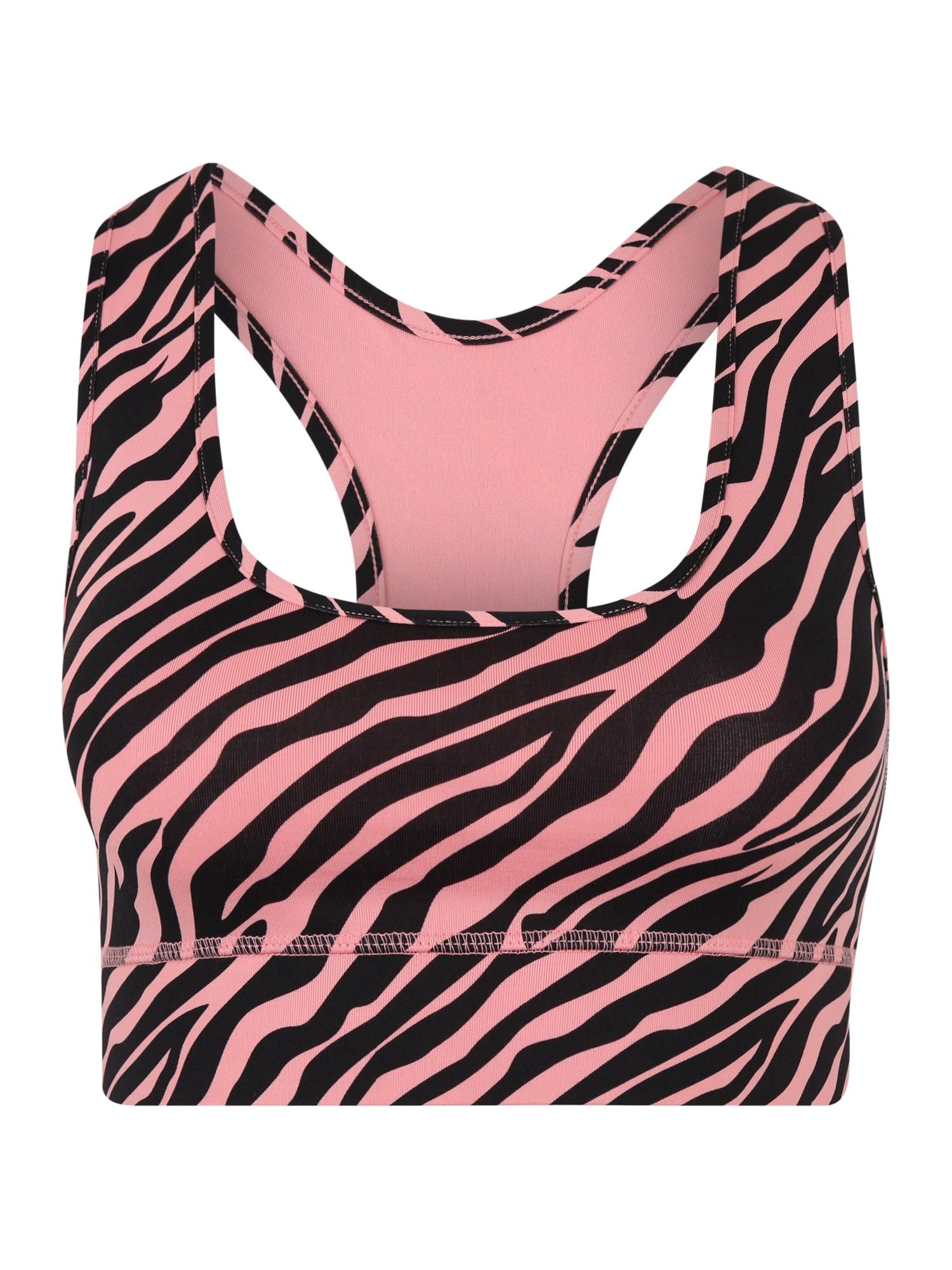 Hey Honey Biustonosz sportowy 'Zebra'  różowy pudrowy / czarny