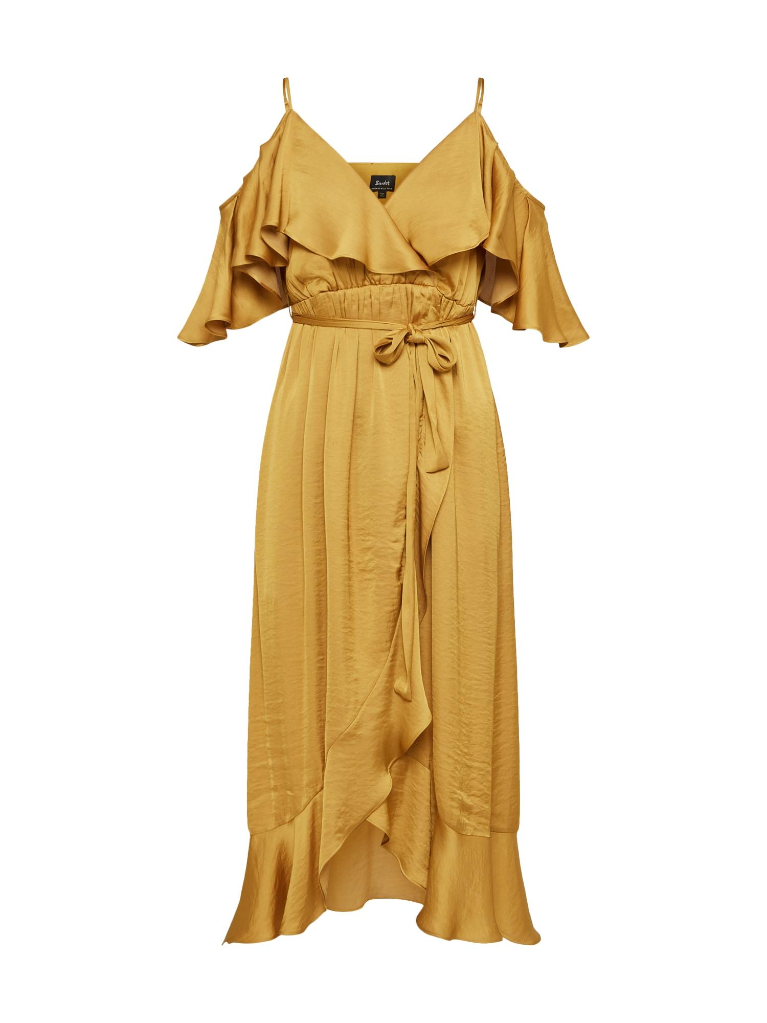 Koktejlové šaty zlatá Bardot
