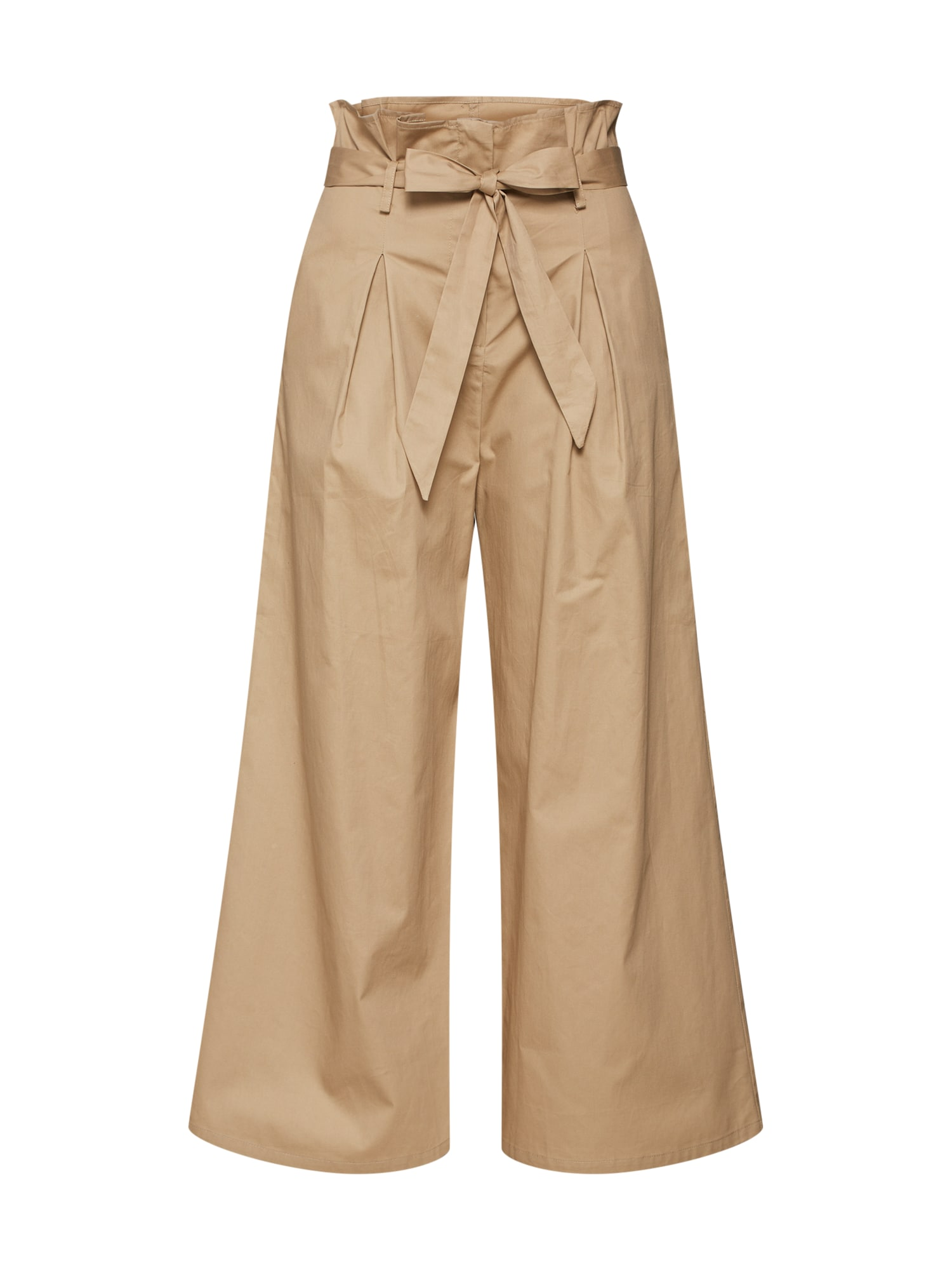 Kalhoty se sklady v pase CK5307 béžová GLAMOROUS