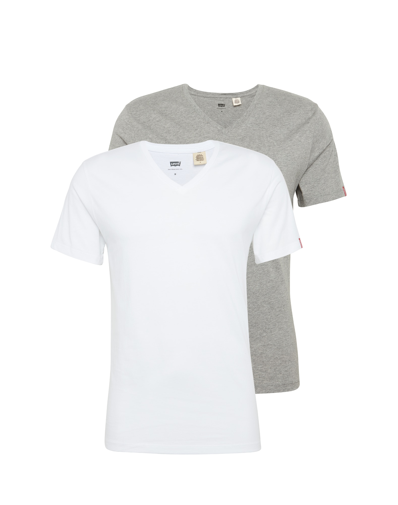 LEVI'S Heren Shirt SLIM 2 PACK V NECK TEE grijs gemêleerd wit
