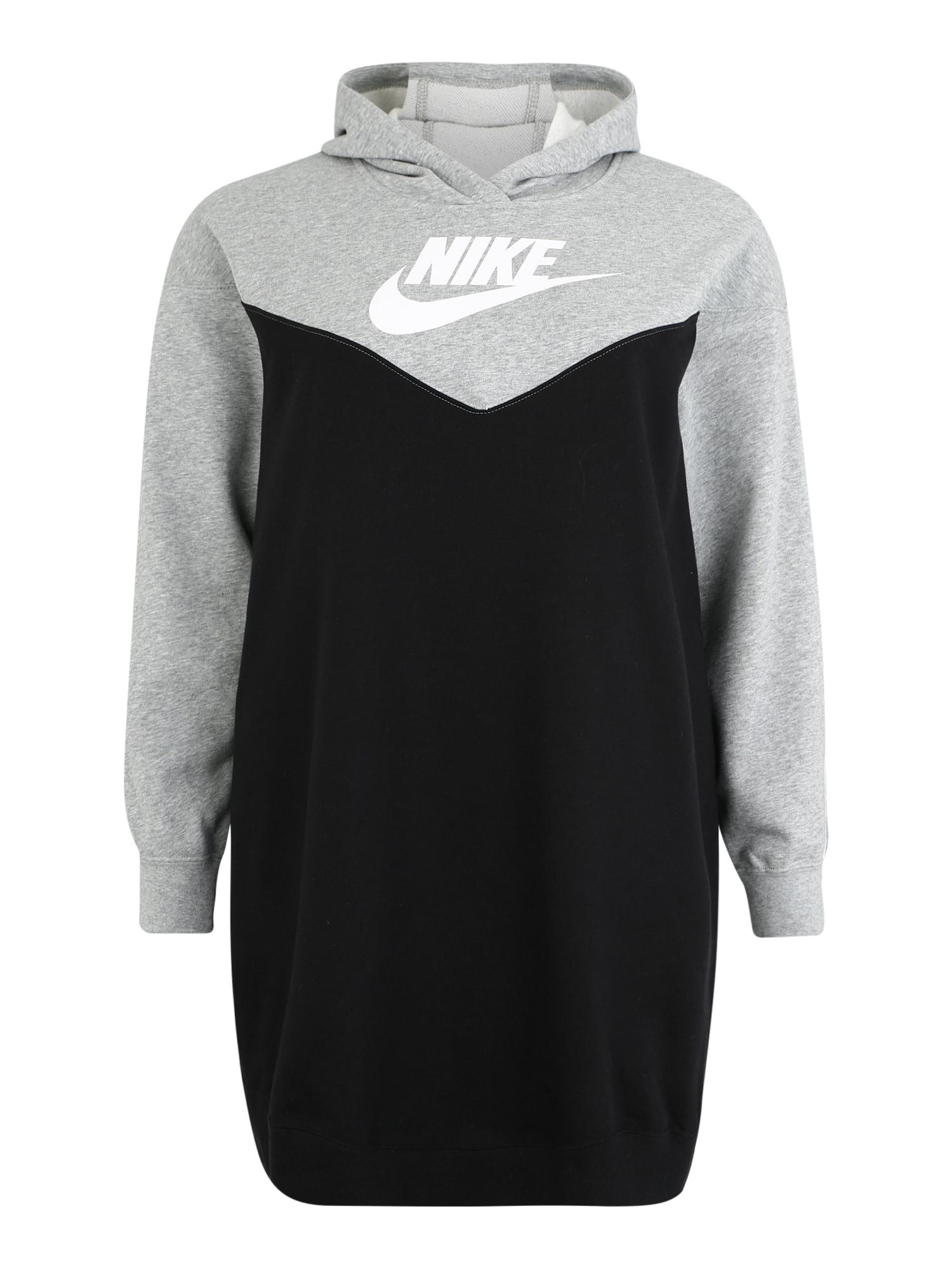 Šaty W NSW HRTG HOODY DRESS SB PLUS šedá černá Nike Sportswear