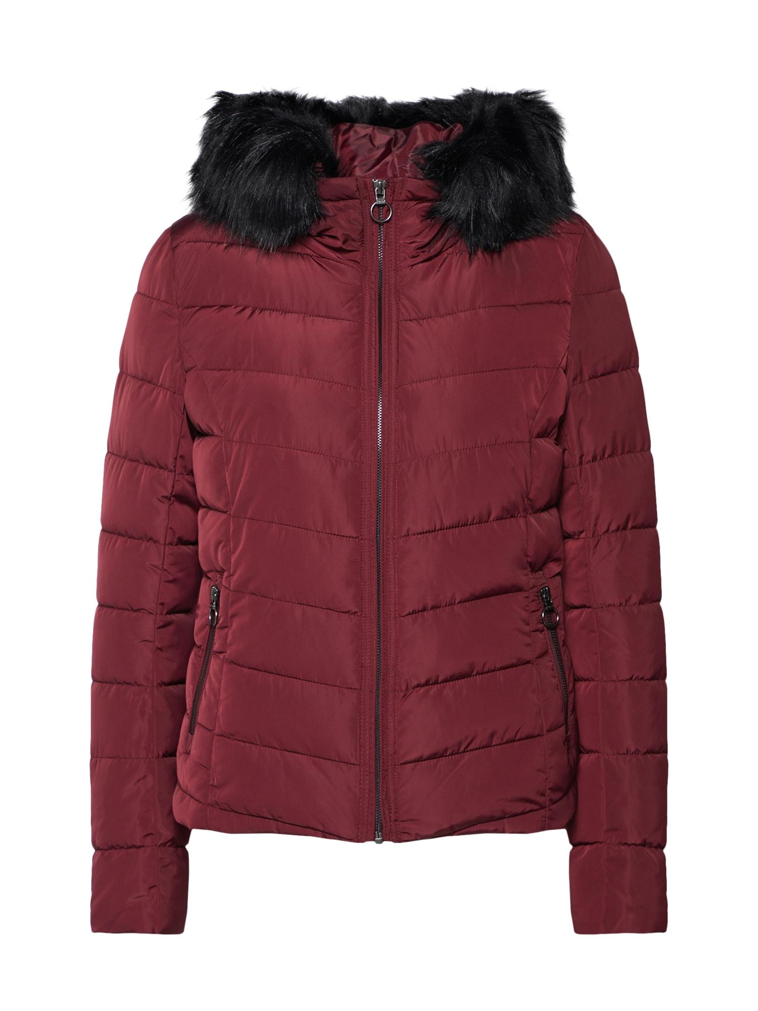 Zimní bunda vínově červená ONLY