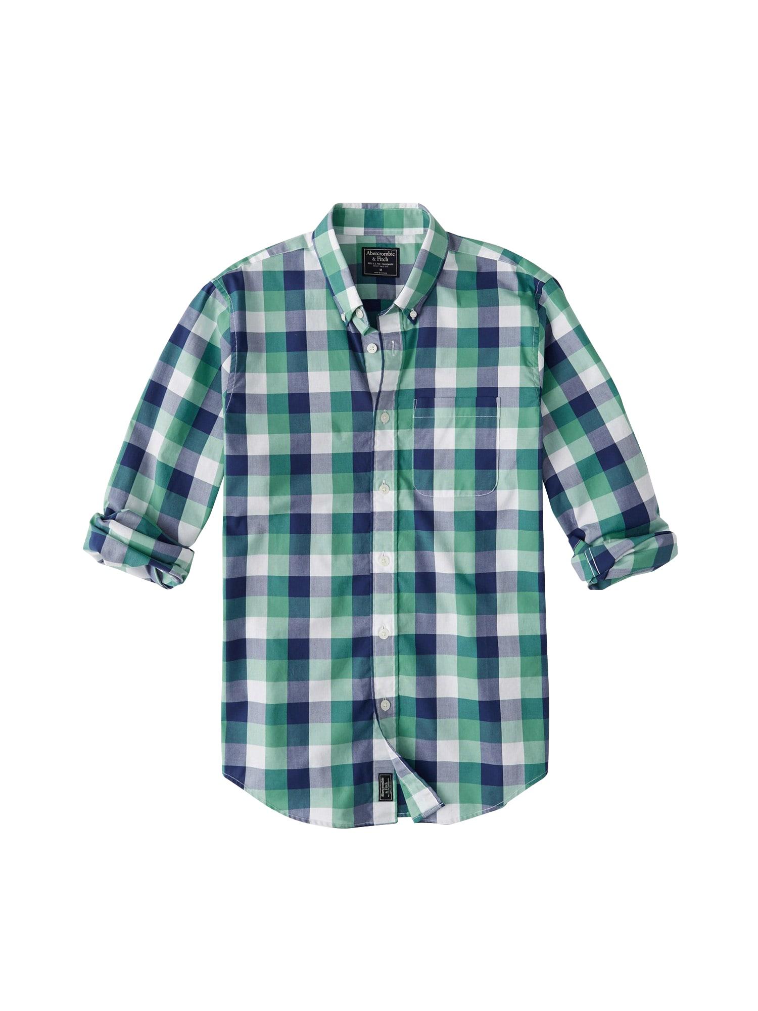 Košile CHECK POPLIN TRO zelená Abercrombie & Fitch