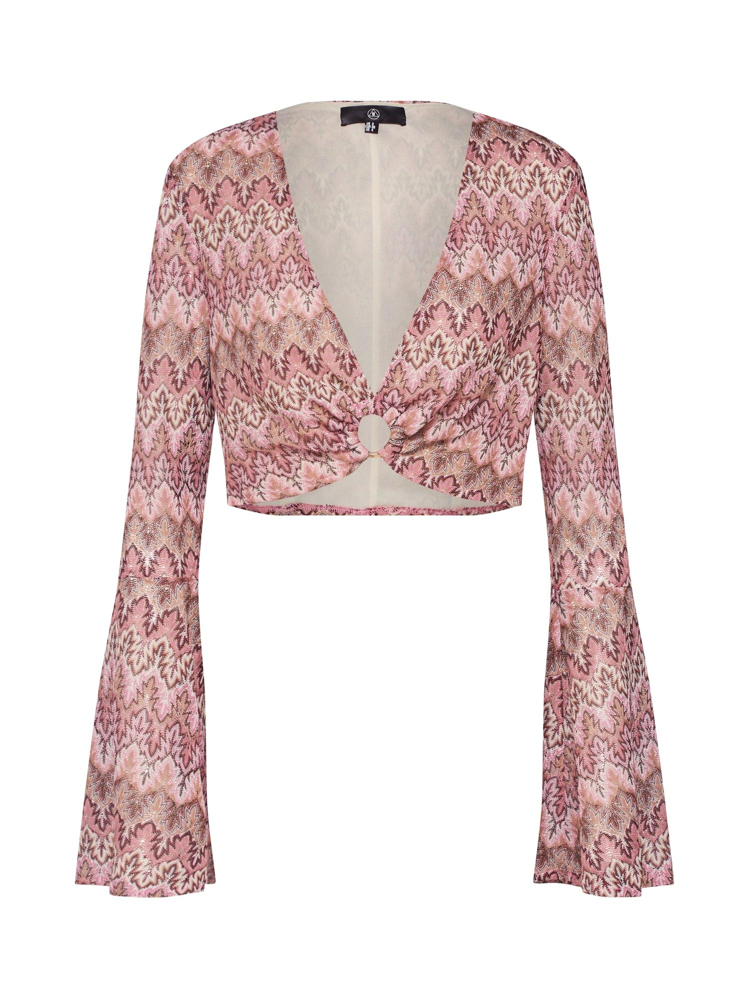 Tričko Chevron Print O ring Flared Sleeve Top Pink hnědá růžová bílá Missguided