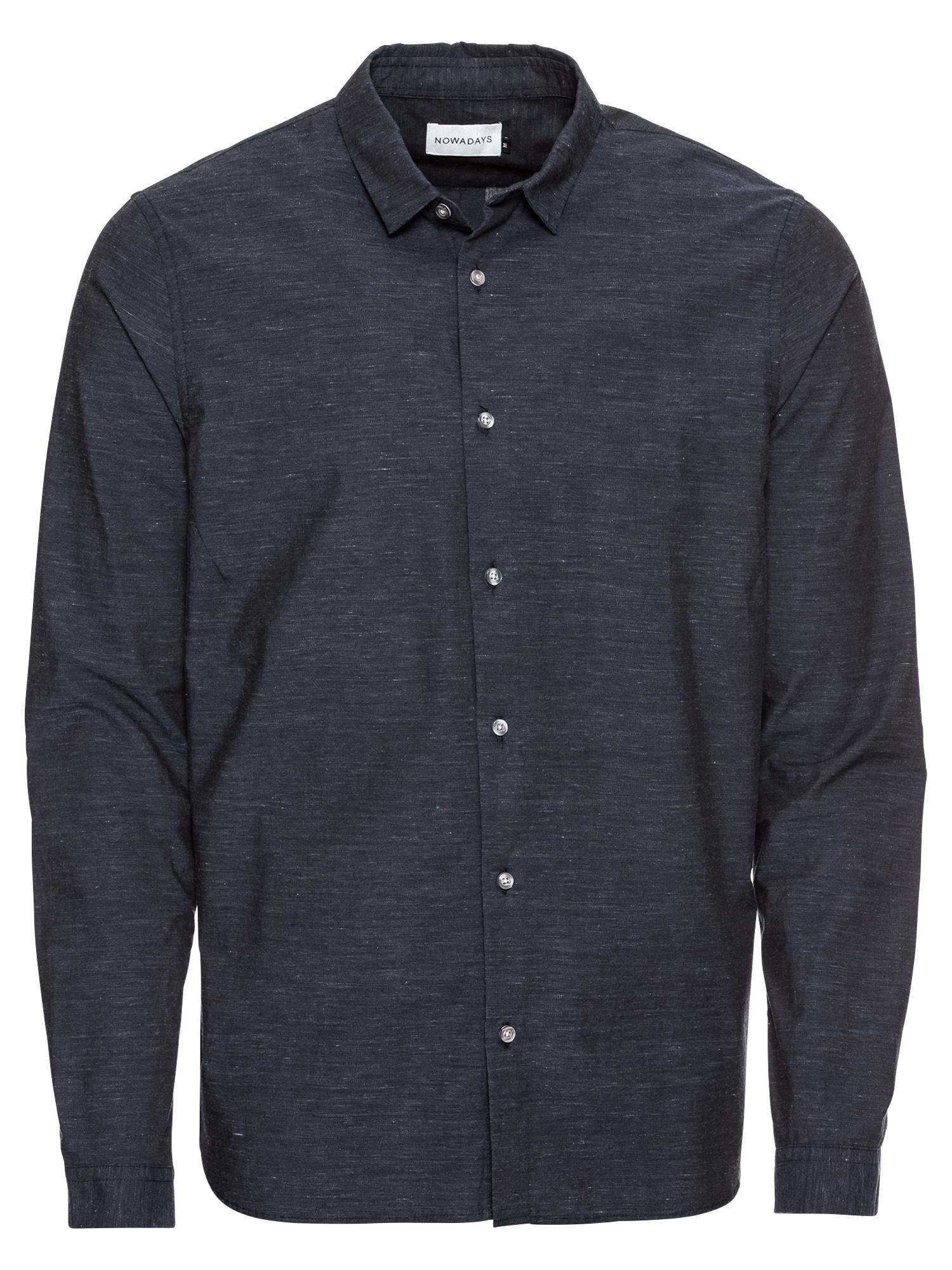 Košile shark brushed herringbone shirt noční modrá NOWADAYS