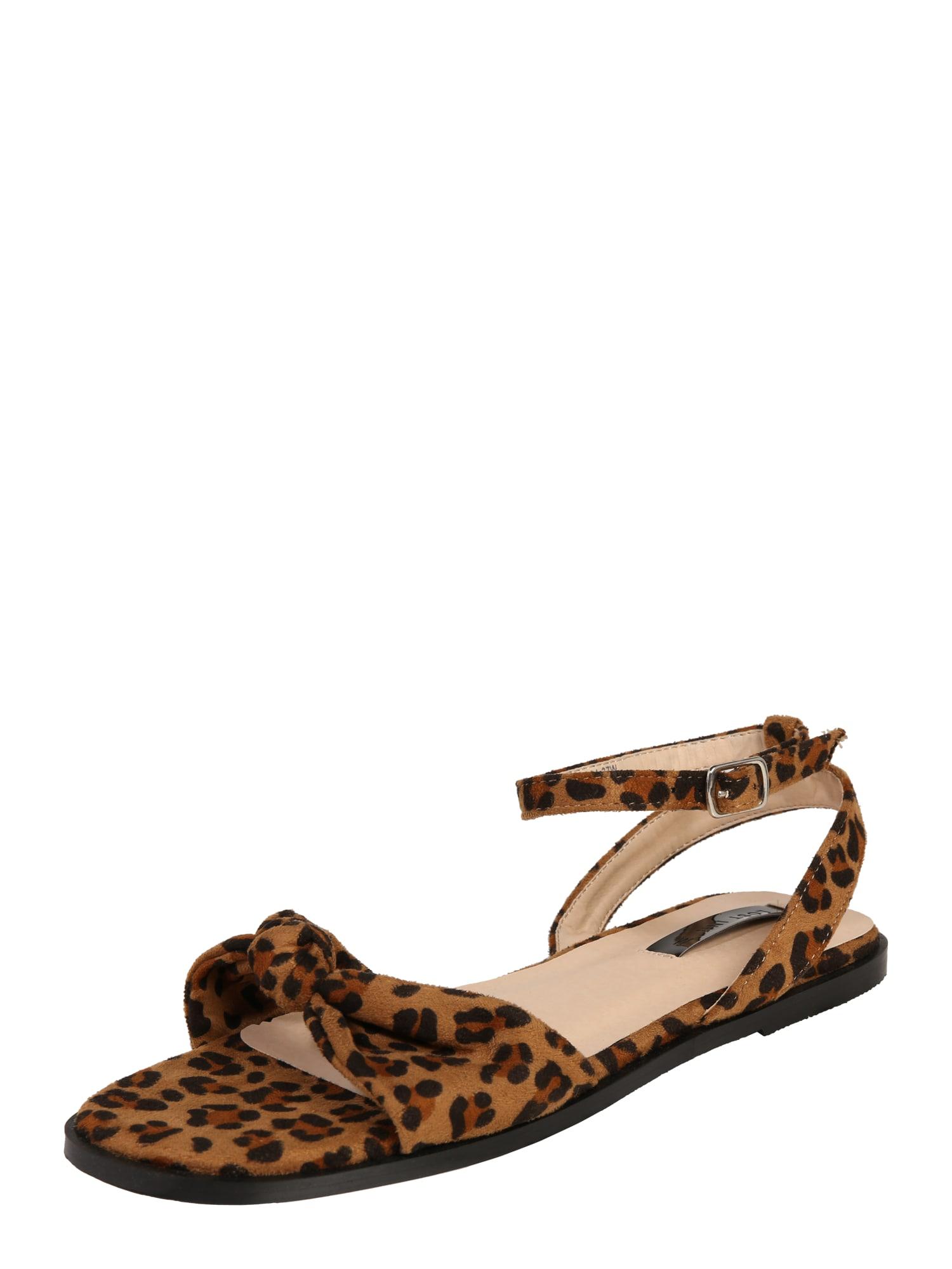 Páskové sandály WF HANNA FLAT SANDAL SQUARE TOE hnědá Lost Ink