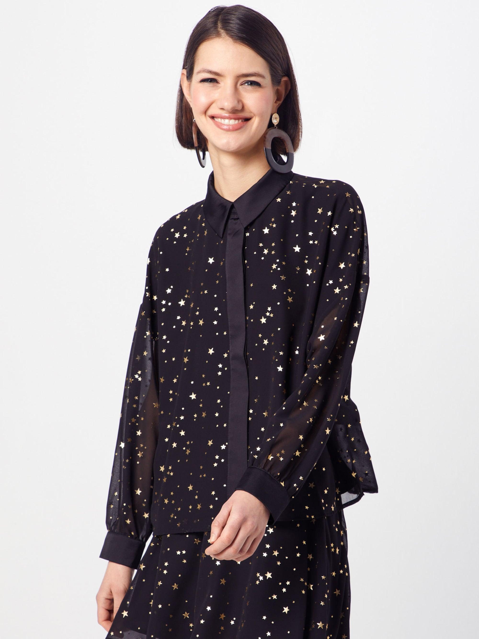 Blouse 'LS shirt blouse with gold star foil print'