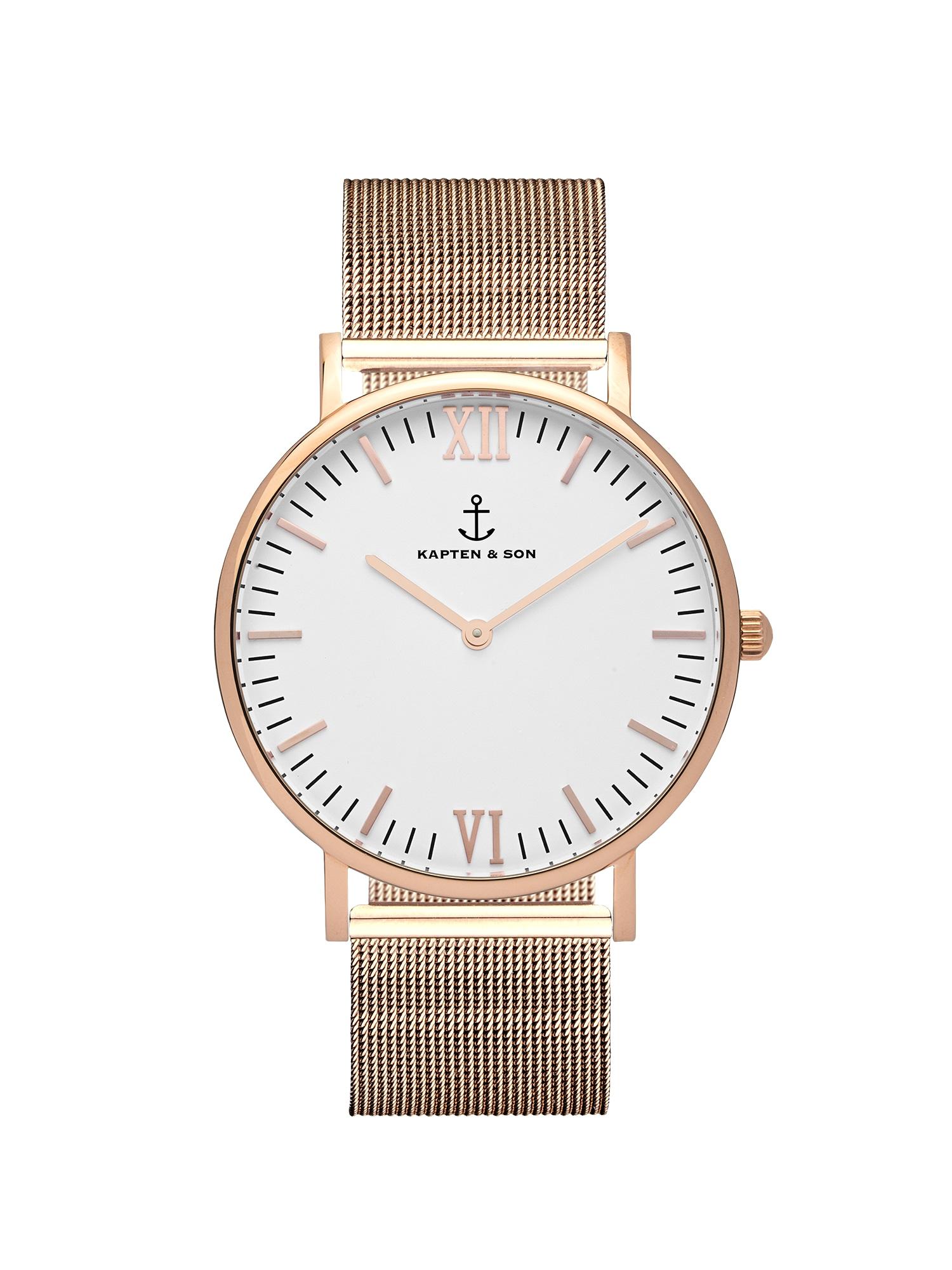 Analogové hodinky Campina Mesh bronzová Kapten & Son