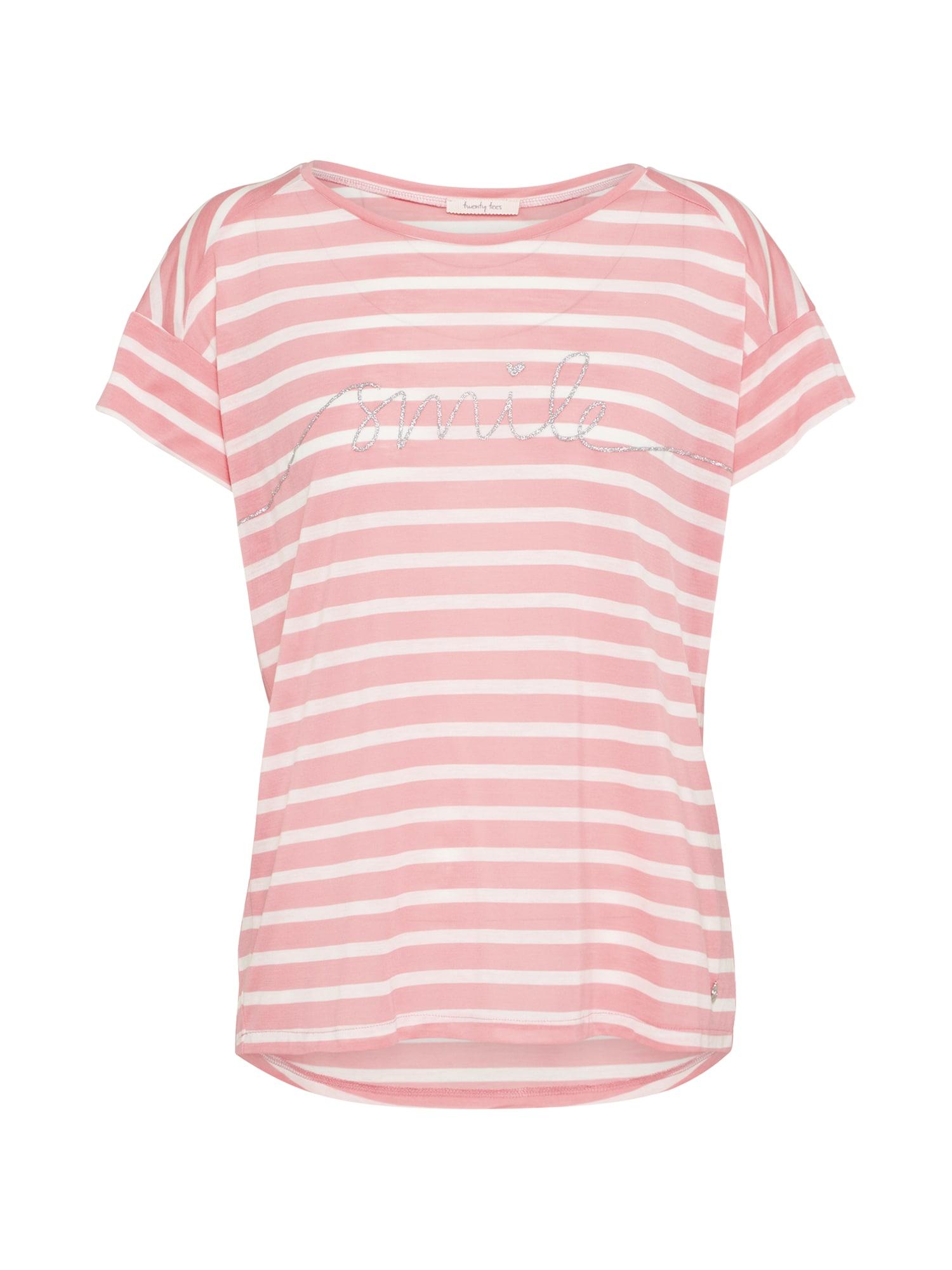 Tričko Smile Ringel růžová bílá Twenty Tees