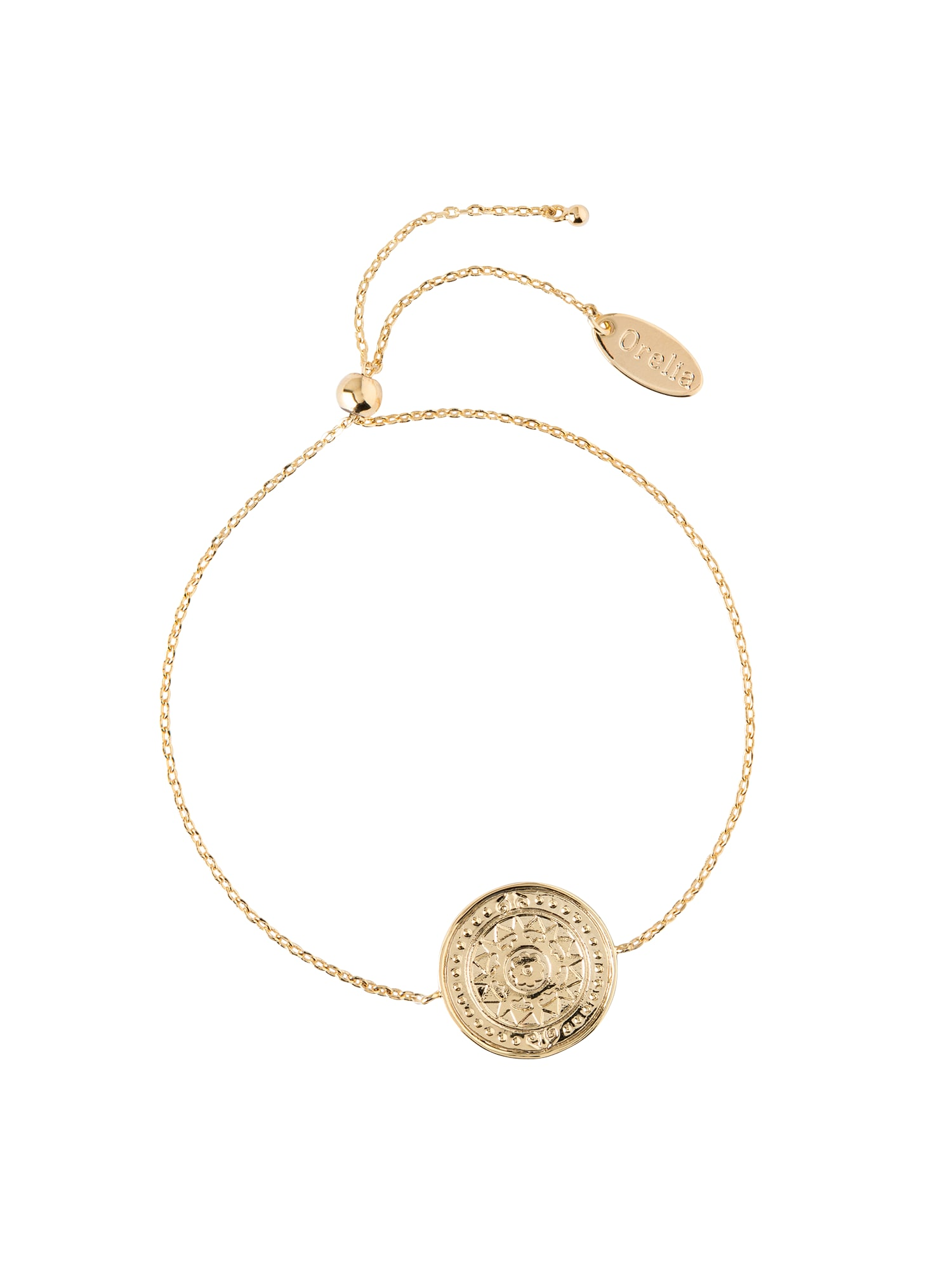 Náramek Engraved Coin Slider Bracelet zlatá Orelia