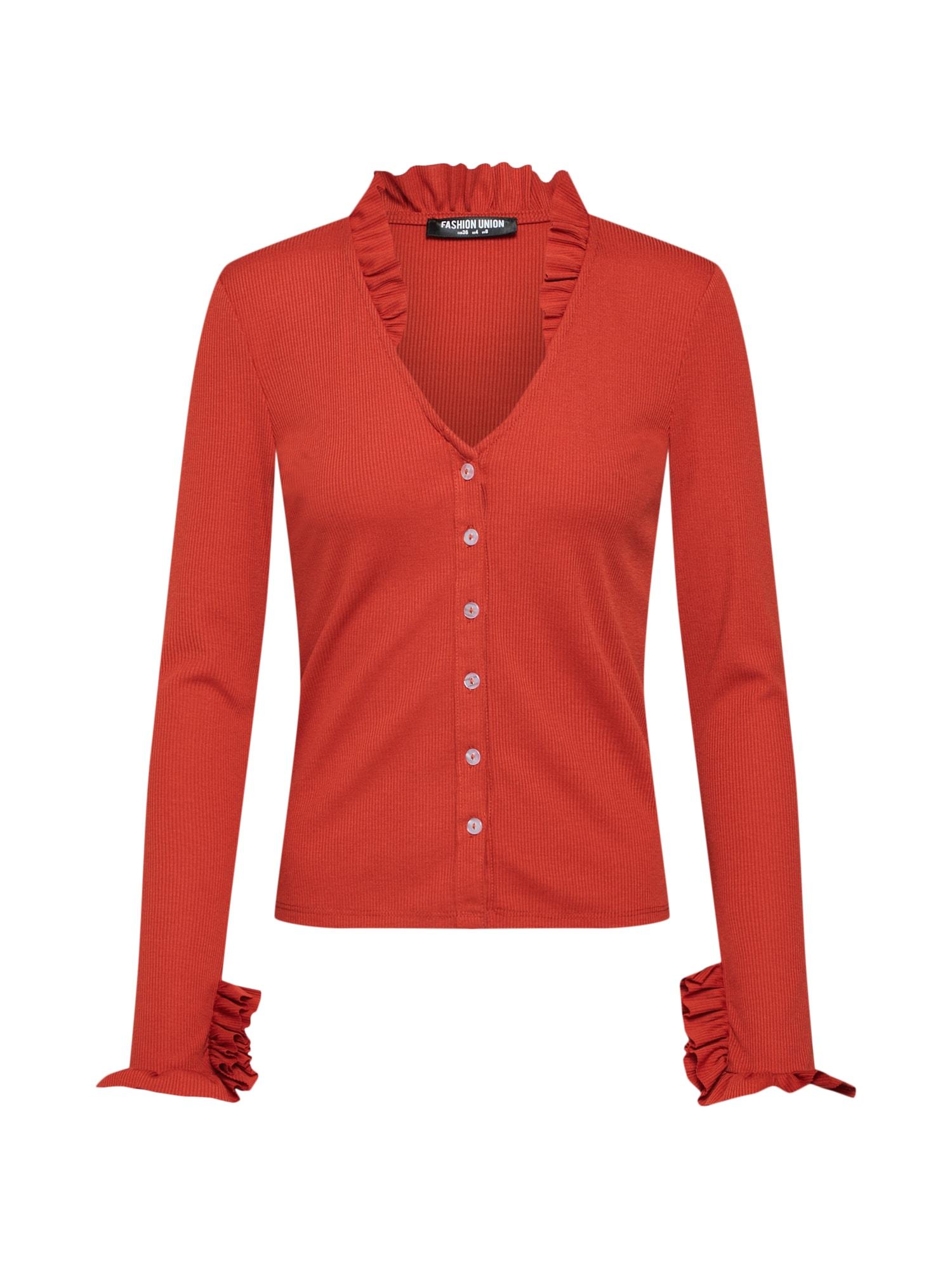 Tričko WREN oranžově červená Fashion Union