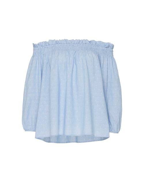 Das Off-Shoulder Shirt von Vila beeindruckt mit angesagtem Streifenmuster in Kombination mit einem Pünktchendesign. Der Carmen-Ausschnitt mit Gummizug im Schulterbereich sorgt für einen sommerlichen Look, der sich ideal mit Sandaletten und einer Shorts vereinen