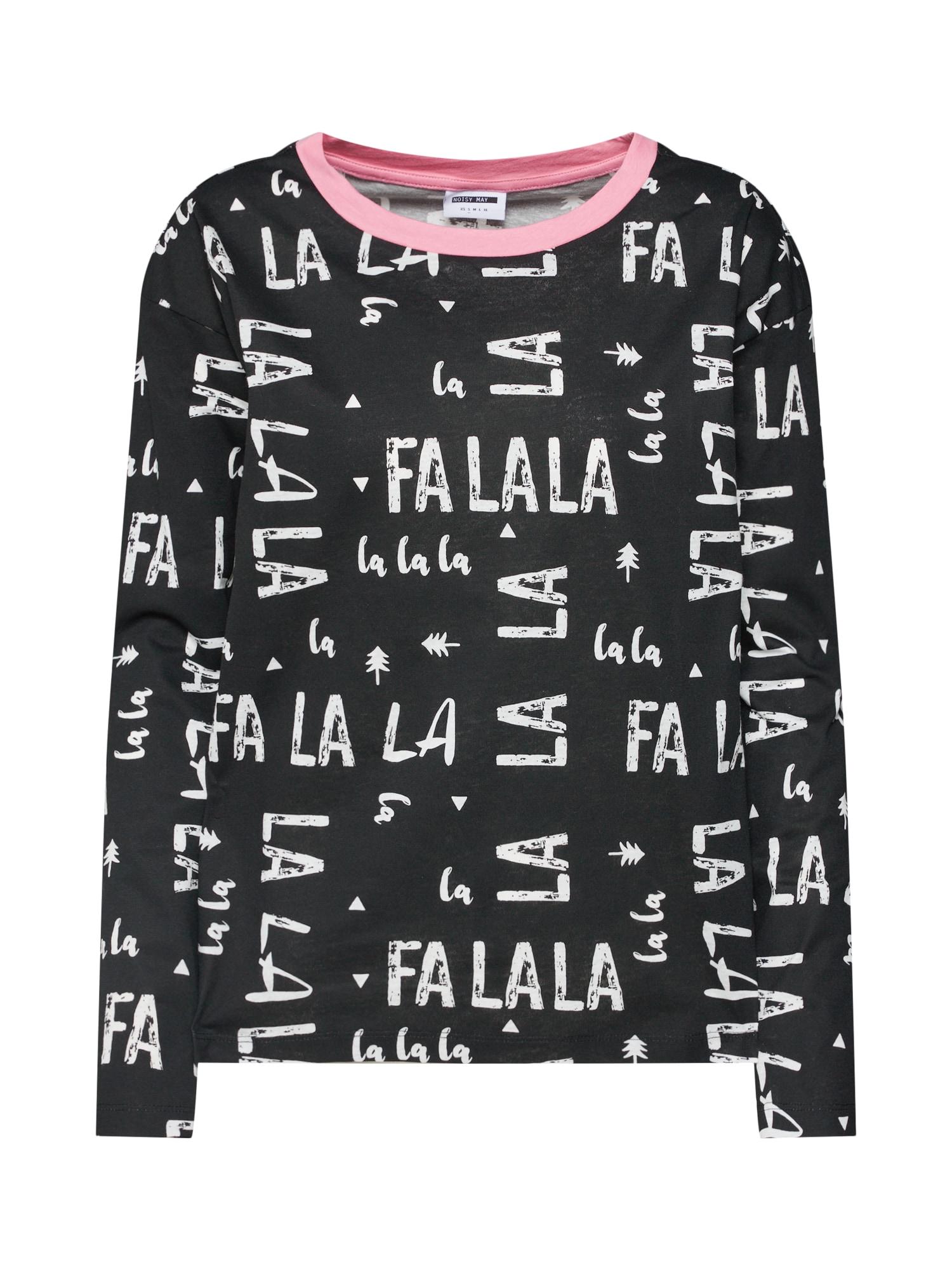 Tričko na spaní Alpine růžová černá bílá Noisy May