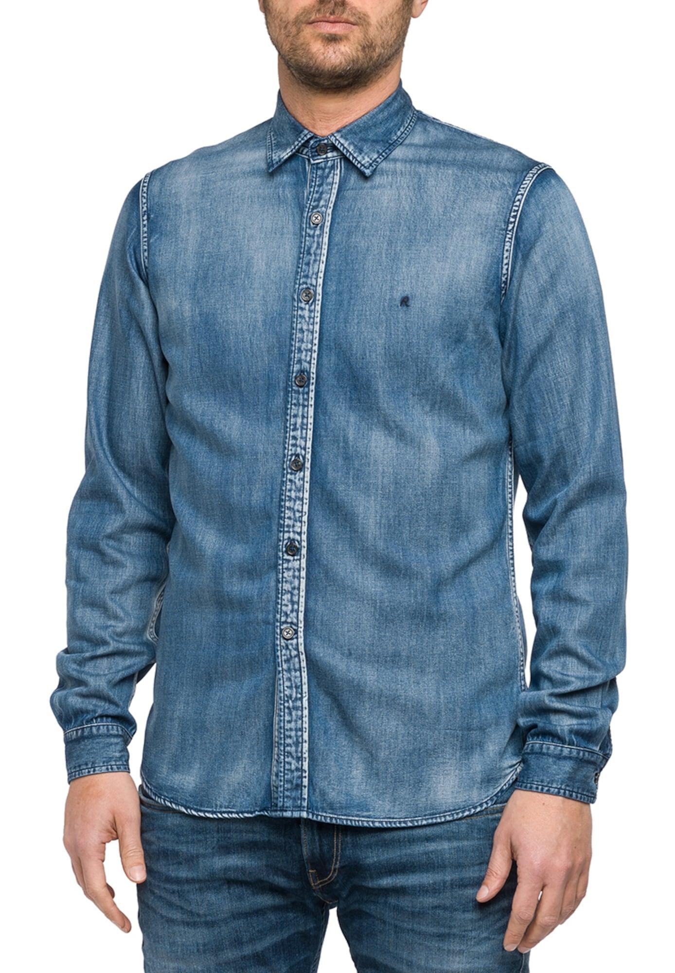 REPLAY Heren Overhemd blauw