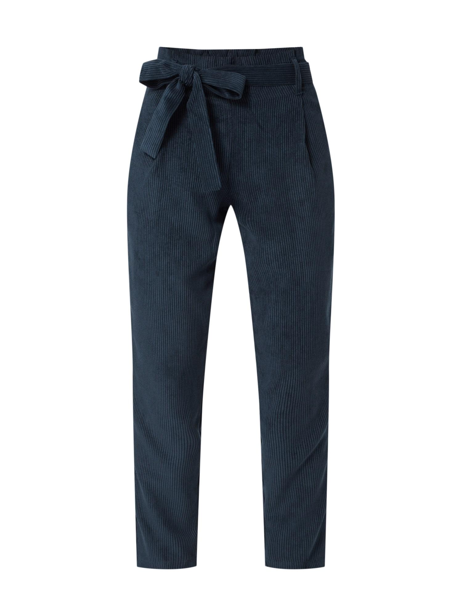 Kalhoty se sklady v pase tmavě modrá OBJECT