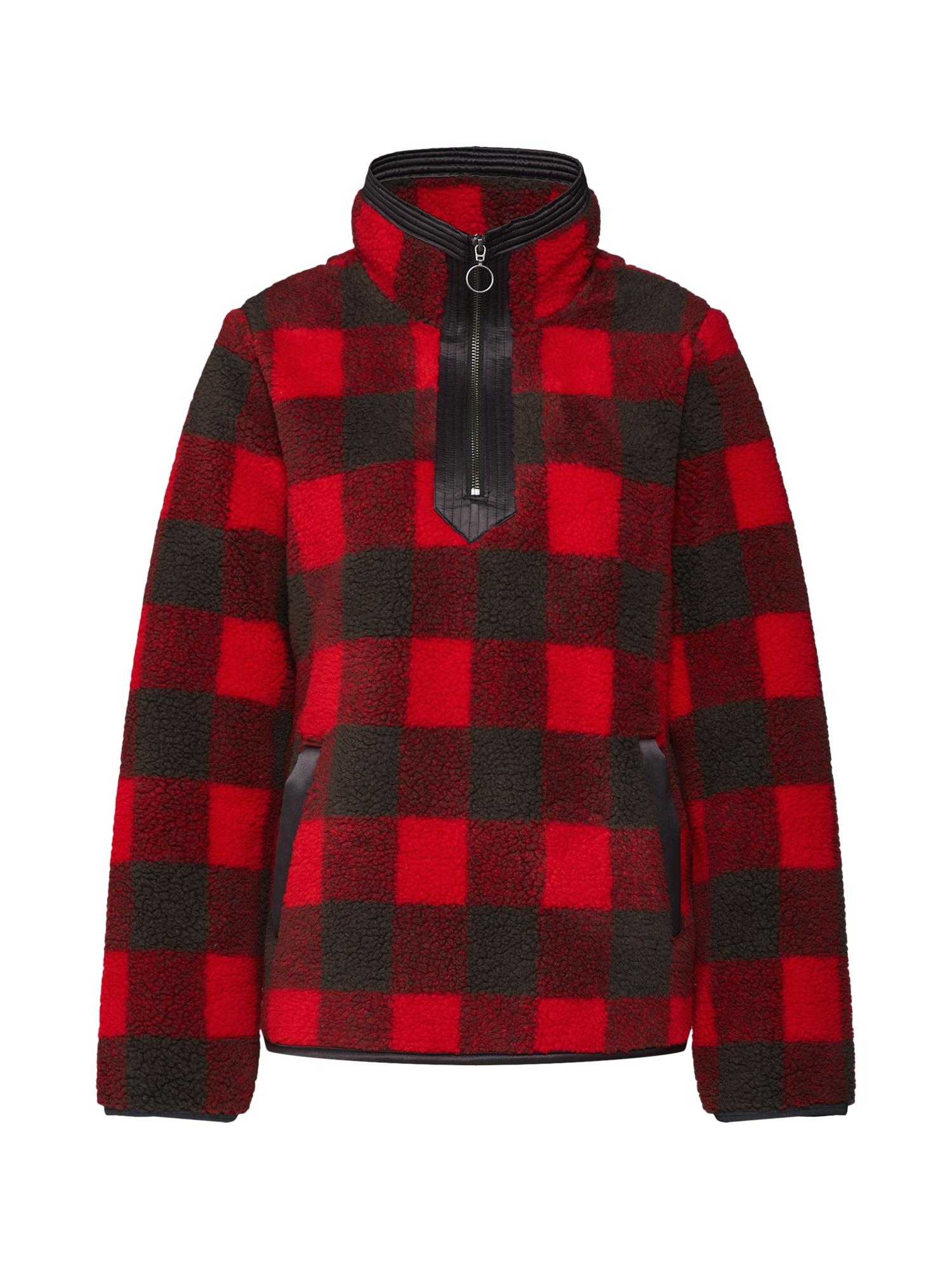 Abercrombie & Fitch Prechodná bunda  červené / čierna