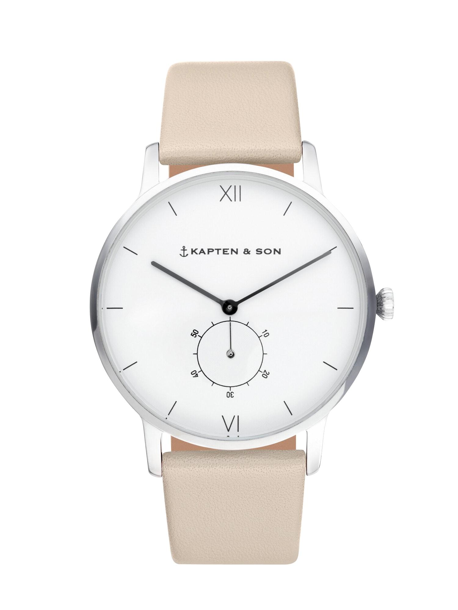 Analogové hodinky Heritage Silver písková Kapten & Son