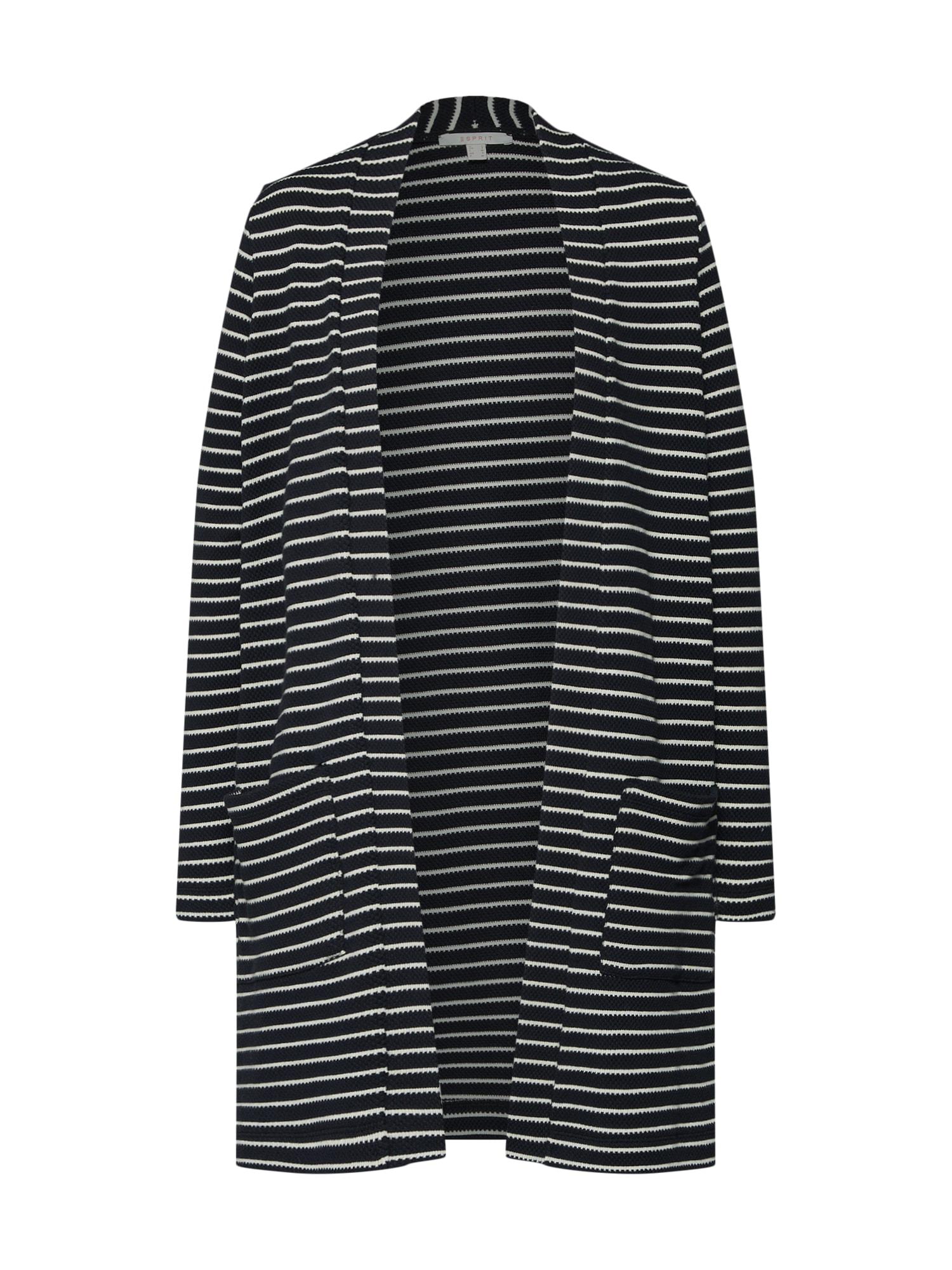 Pletený kabátek černá bílá ESPRIT