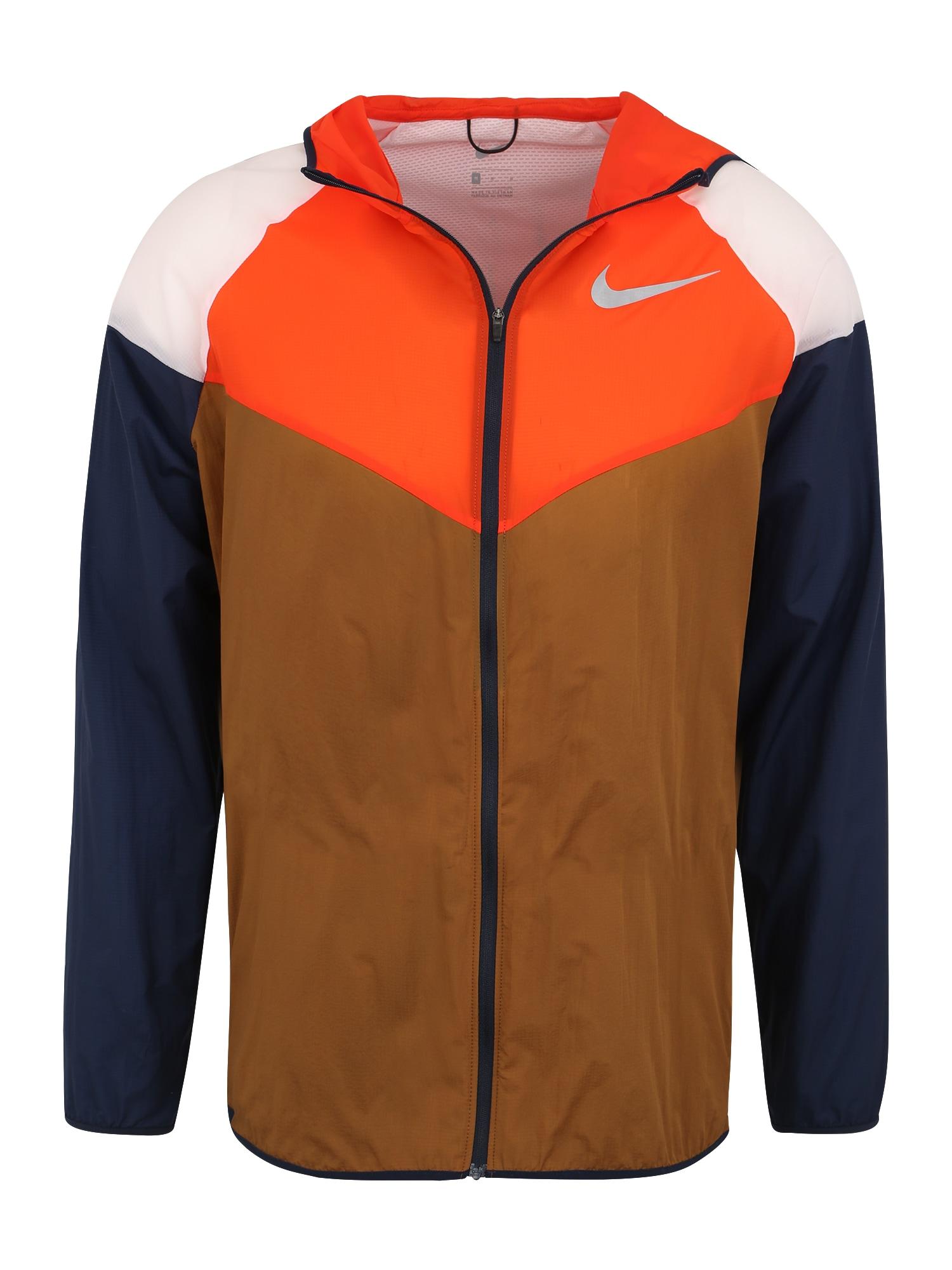 Sportovní bunda M NK WINDRUNNER hnědá oranžová NIKE
