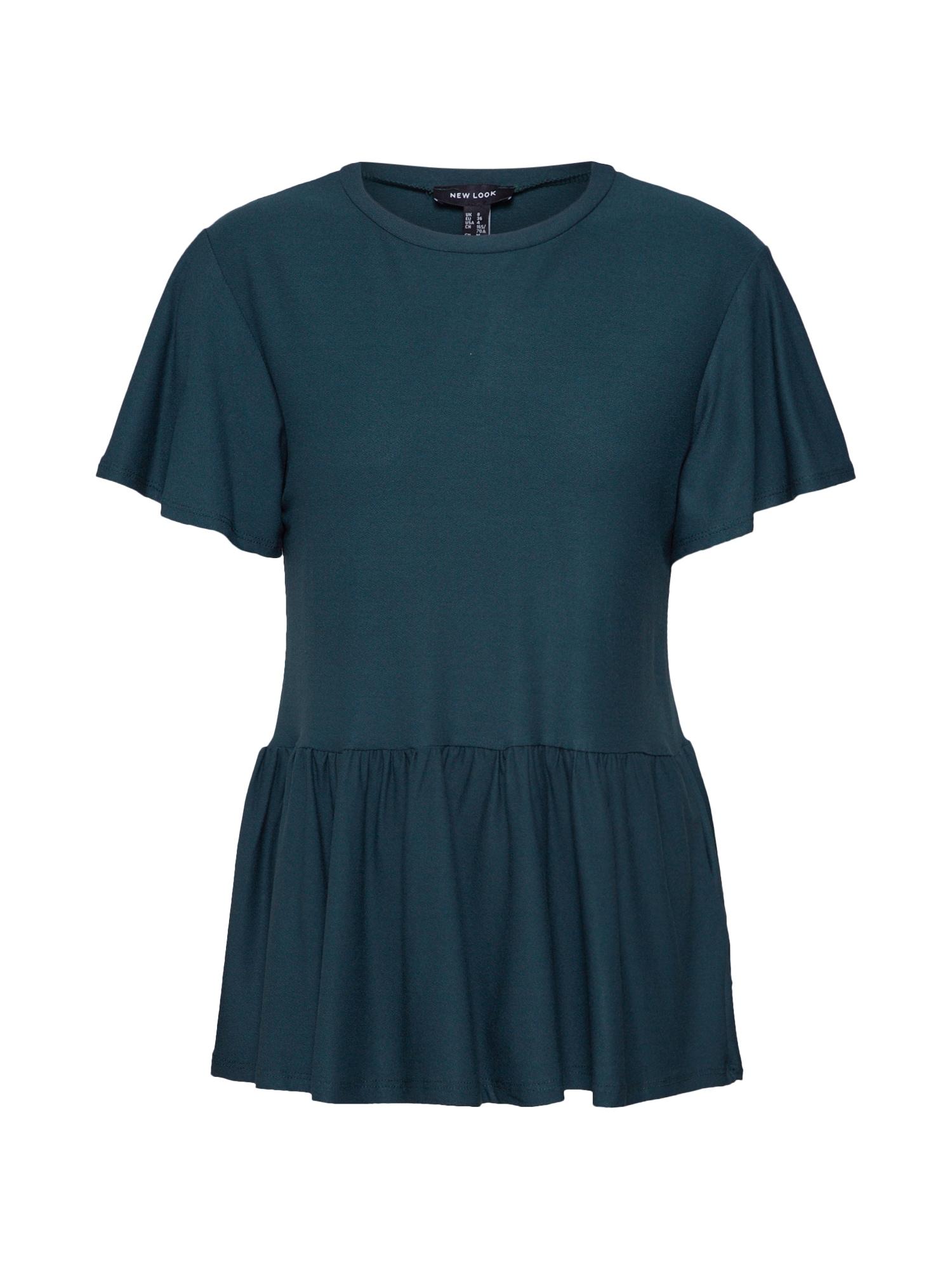 NEW LOOK Tričko 'CREPE TEXTURED PEPLUM'  tmavě zelená
