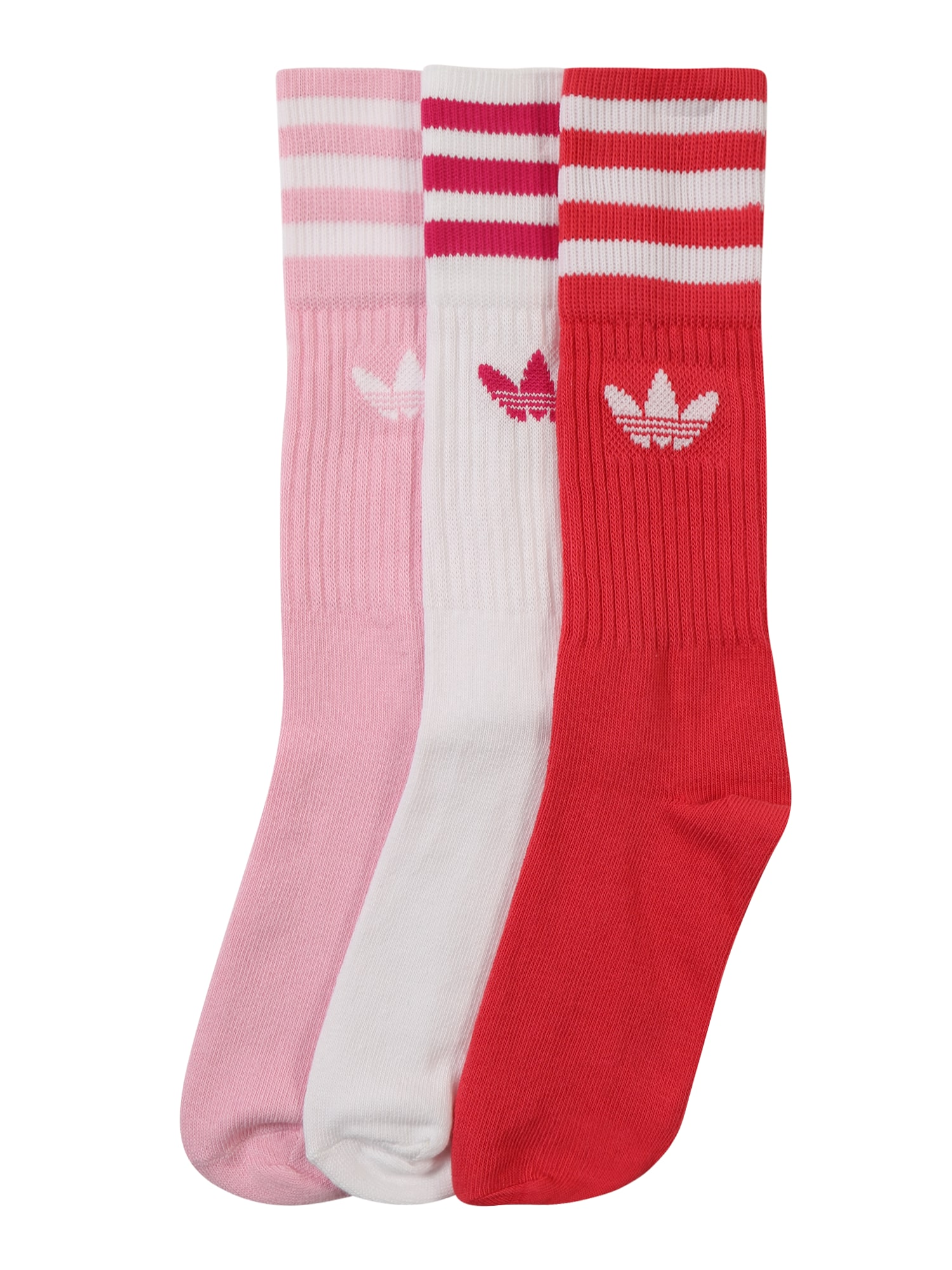 Ponožky SOLID CREW pink světle červená bílá ADIDAS ORIGINALS