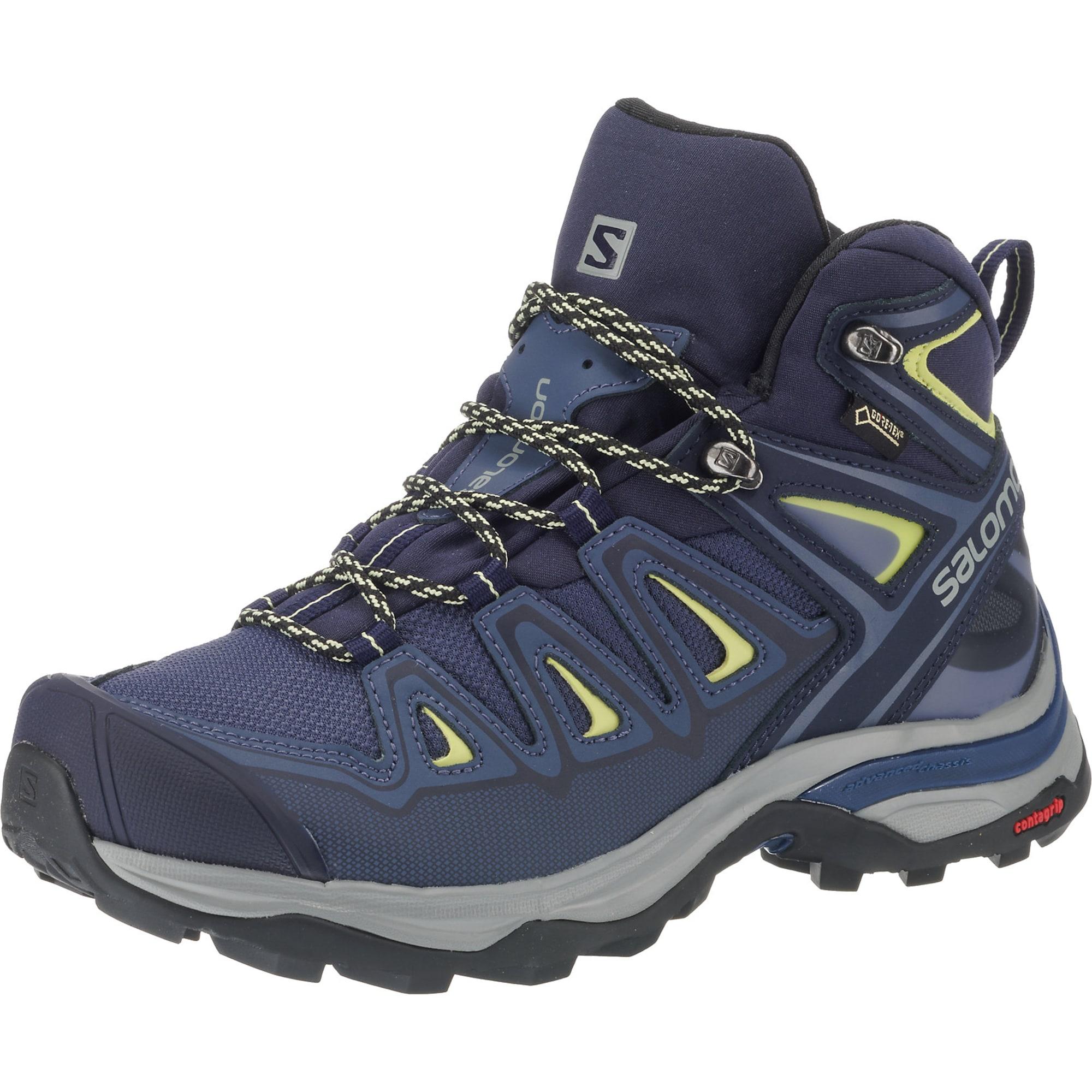 SALOMON, Dames Boots 'X ULTRA 3 MID GTX', blauw / grijs / limoen / zwart