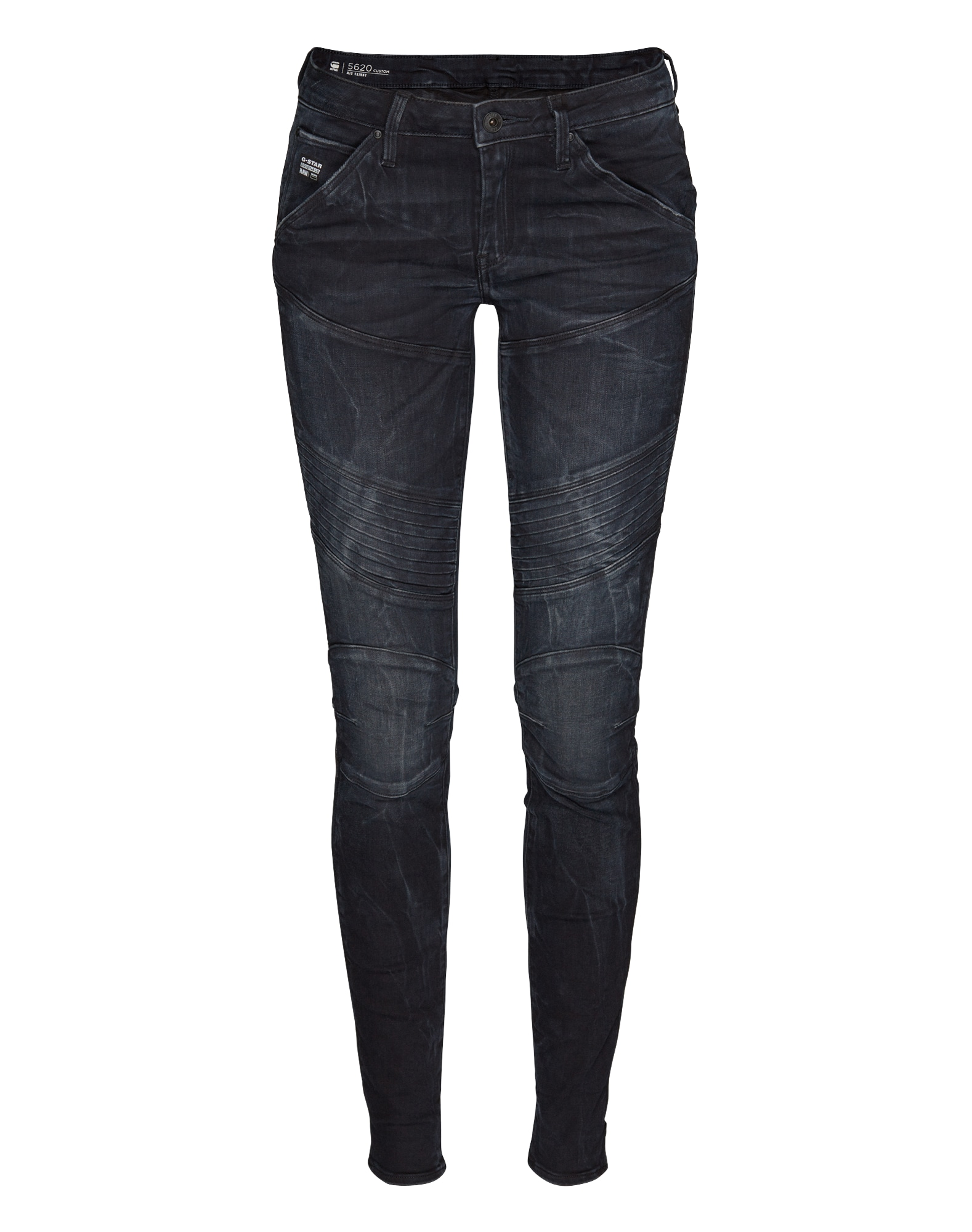 G-STAR RAW Dames Jeans 5620 Custom Mid Skinny navy nachtblauw blauw deni