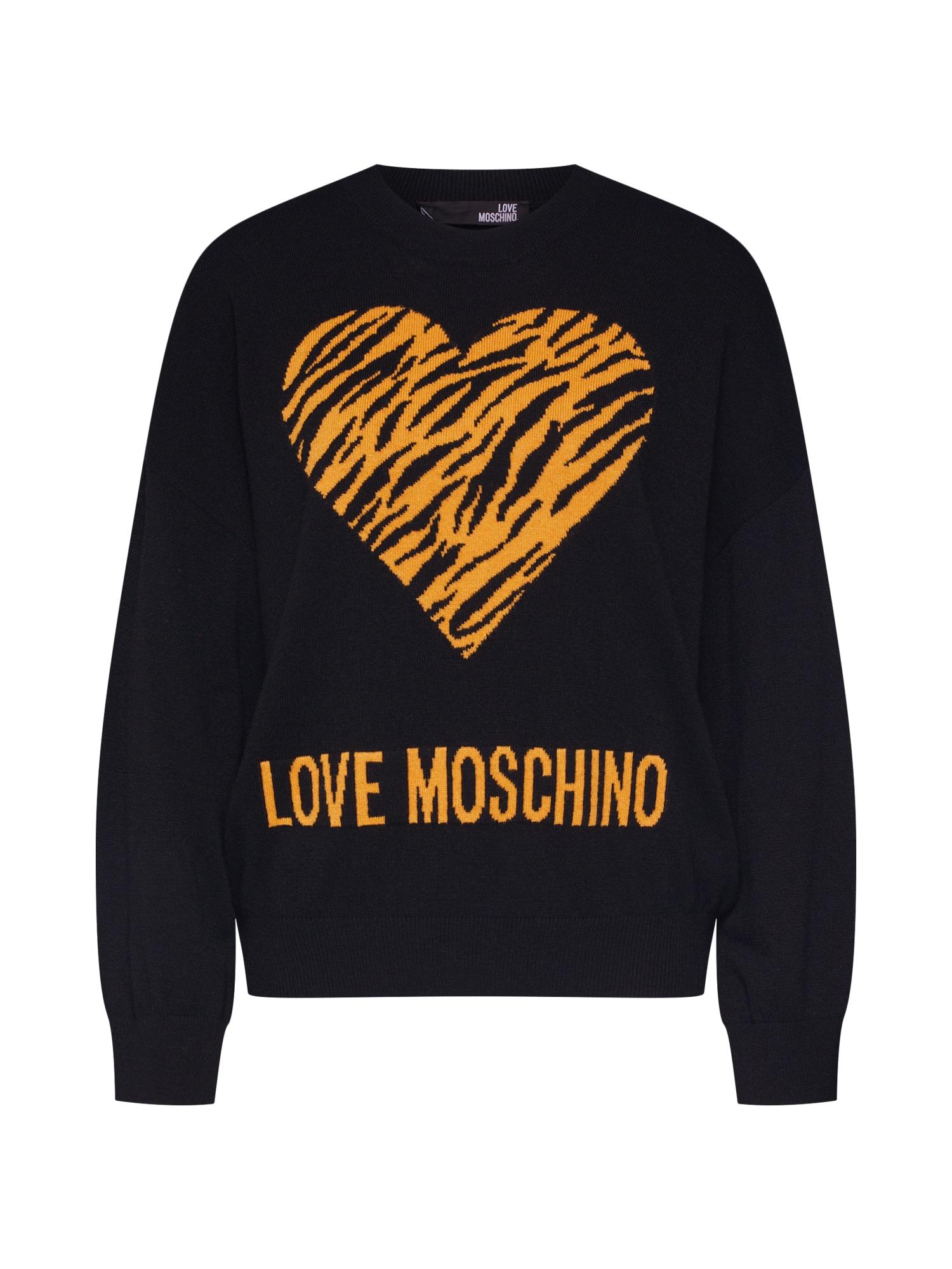 Svetr MAGLIA CON CUORE JACQUARD TIGRE černá Love Moschino