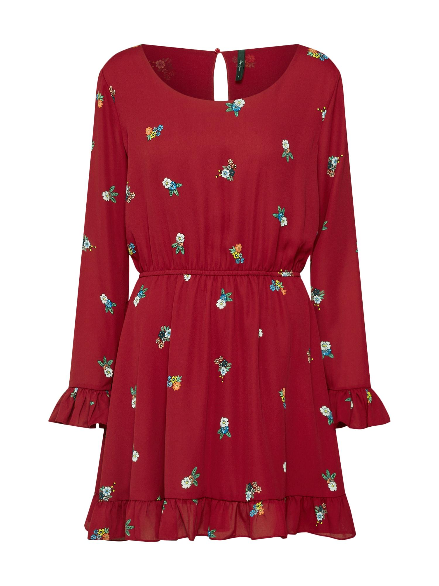 Šaty MIRANDA mix barev krvavě červená Pepe Jeans