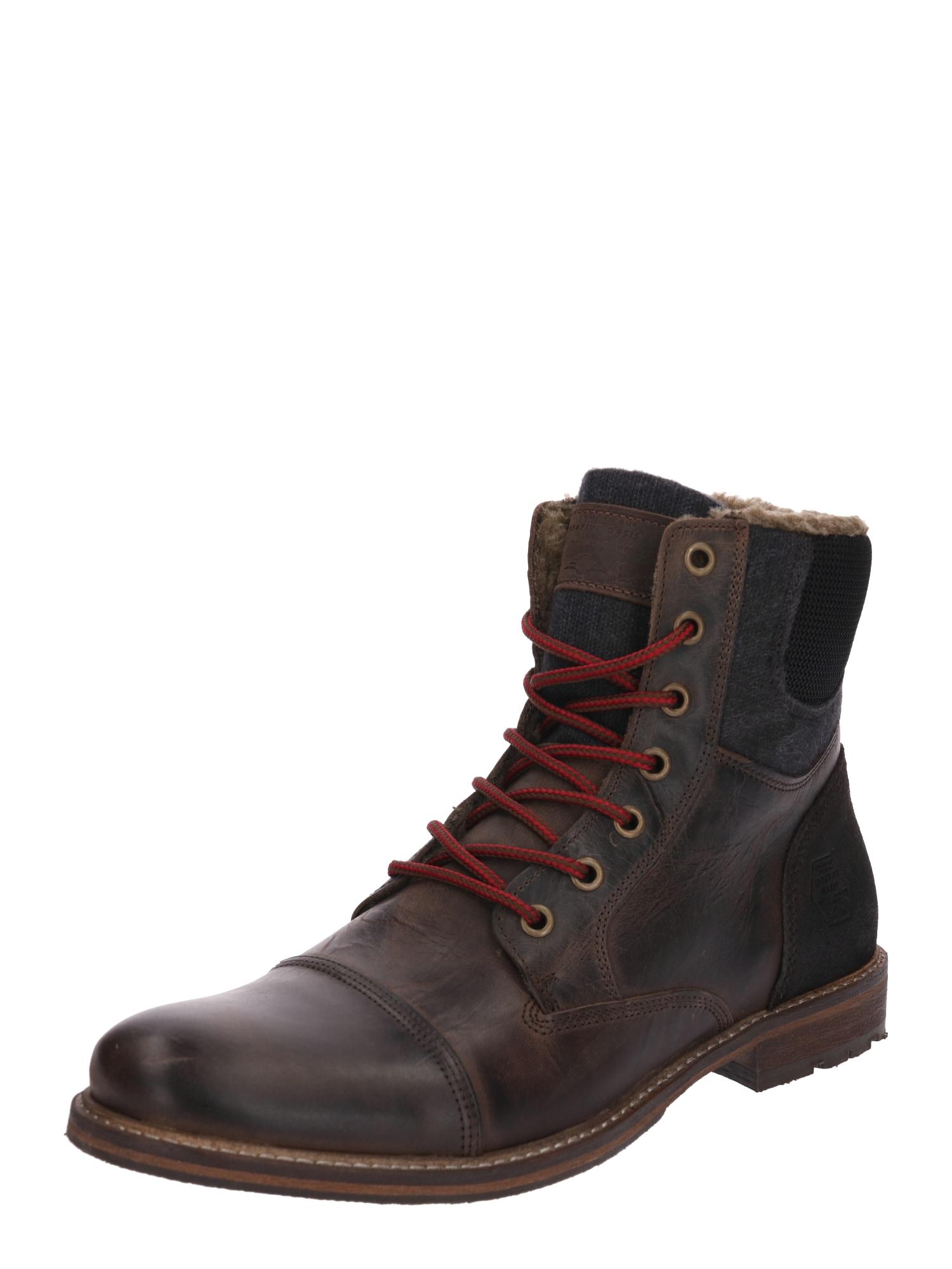 Šněrovací boty tmavě hnědá rubínově červená BULLBOXER