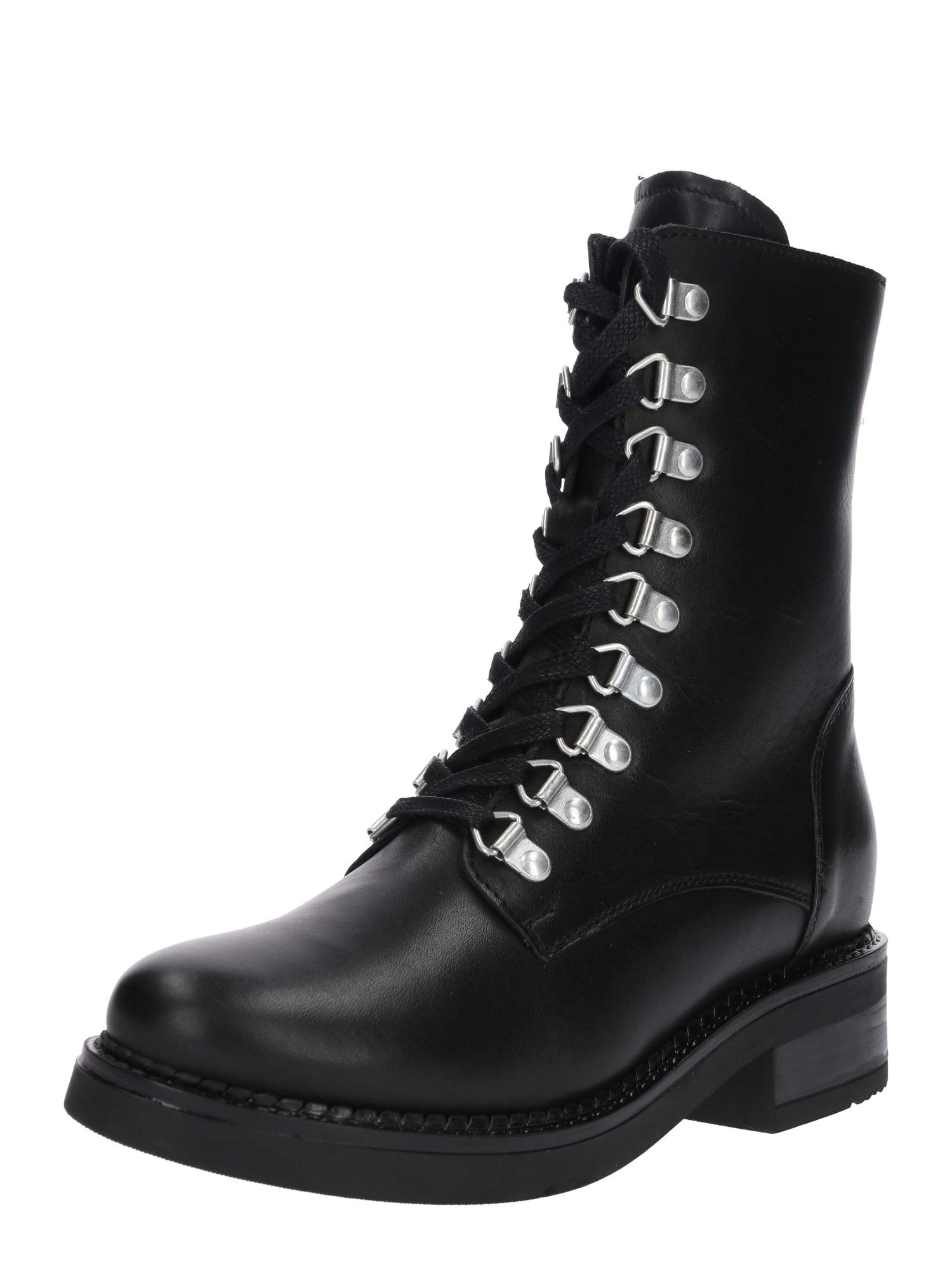 Šněrovací boty 16322-BL733 černá stříbrná Zign