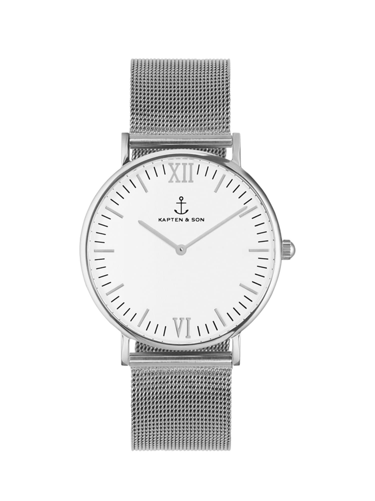 Analogové hodinky Campina Mesh stříbrná bílá Kapten & Son