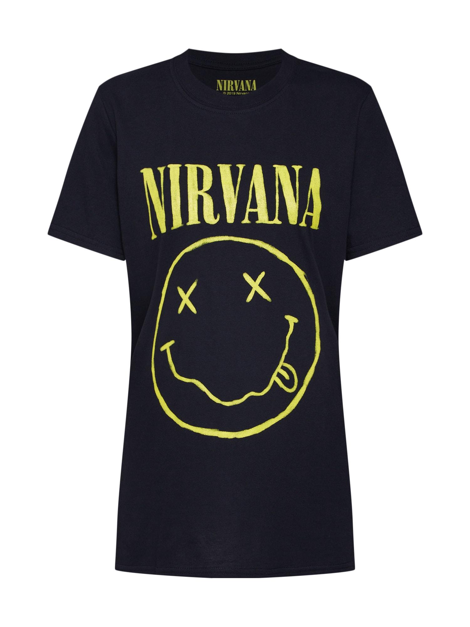 Tričko NIRVANA LICENCE žlutá černá Missguided