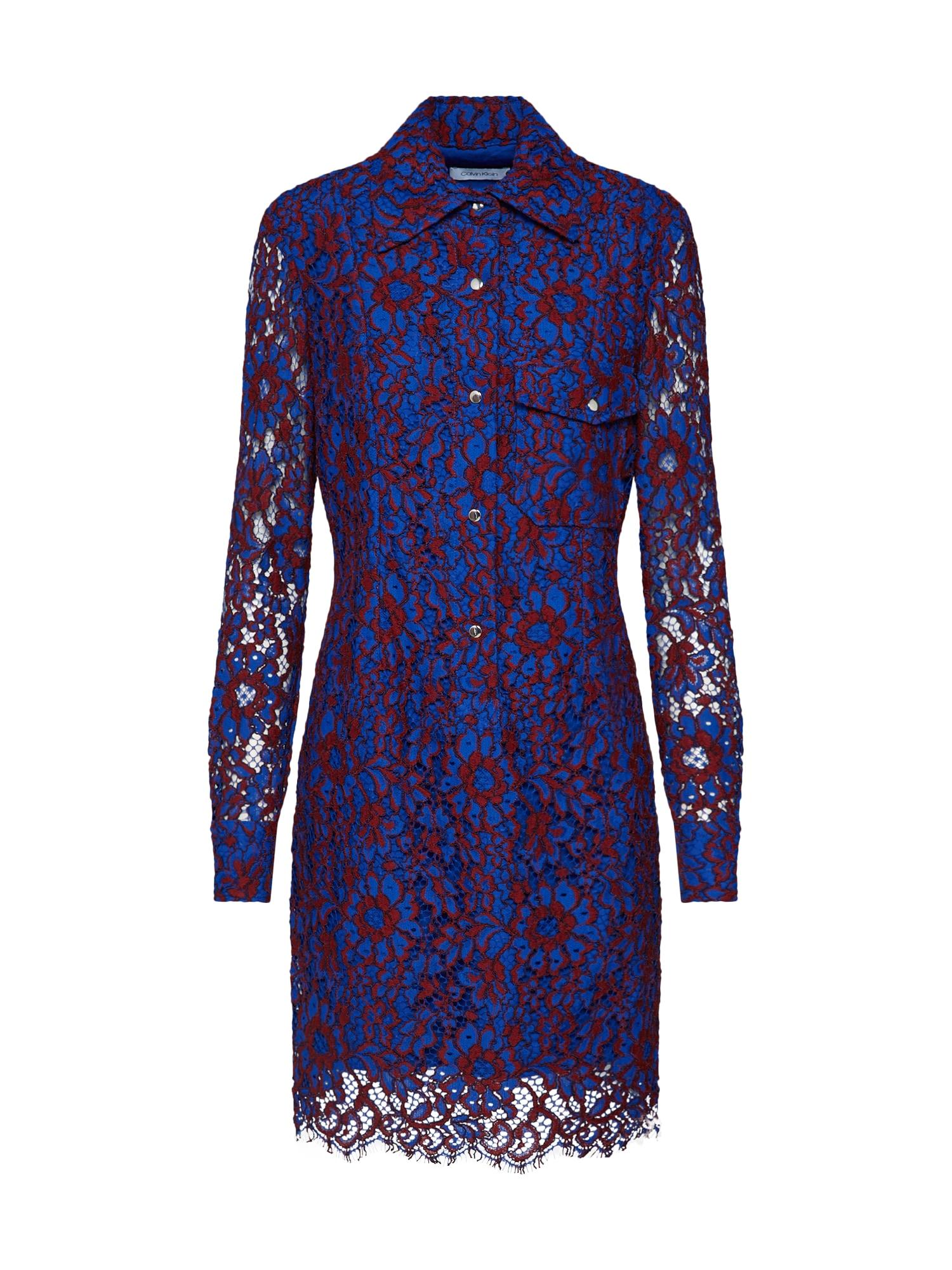 Košilové šaty LACE DRESS LS fialová Calvin Klein