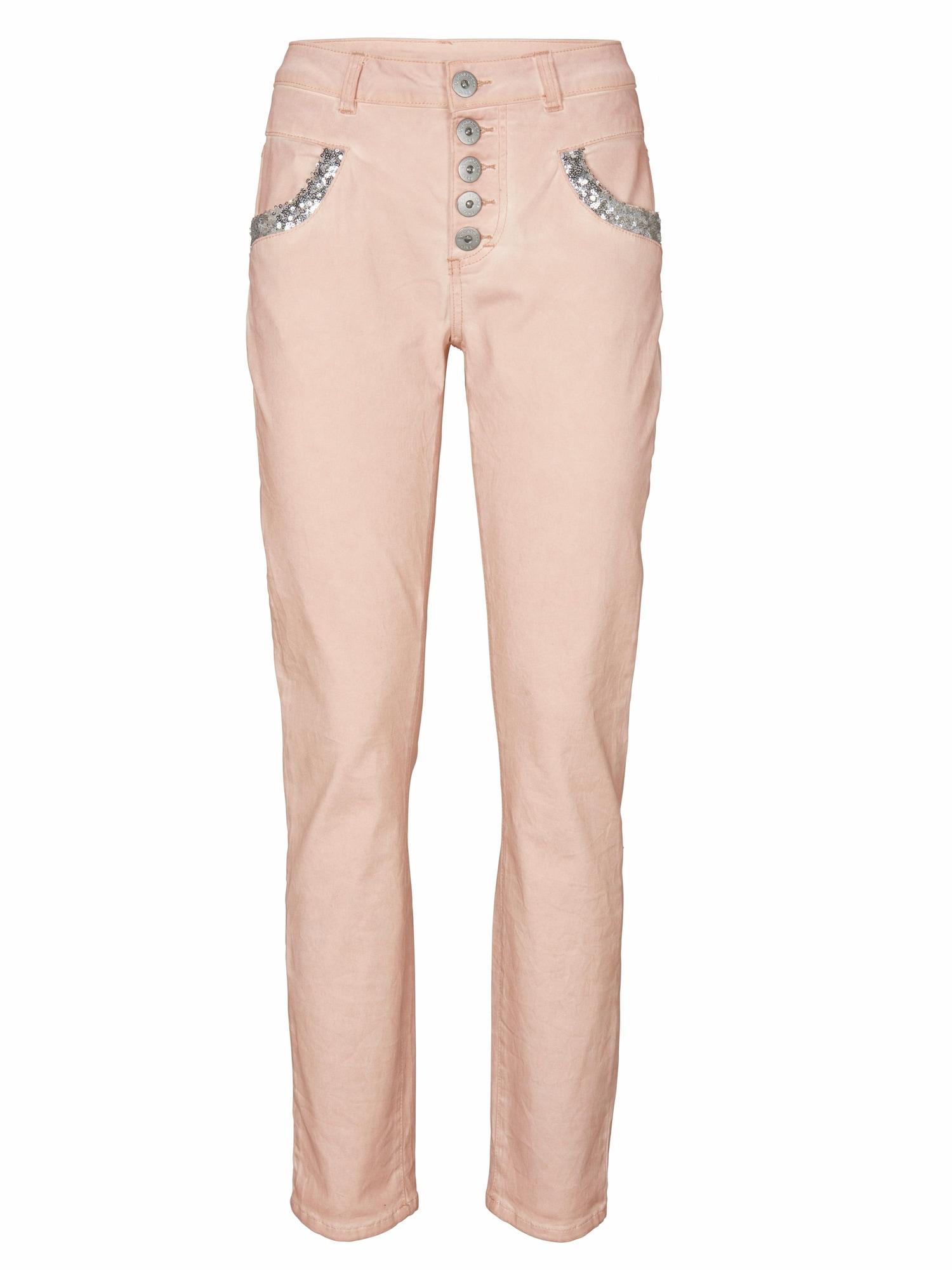 Kalhoty starorůžová stříbrná Heine