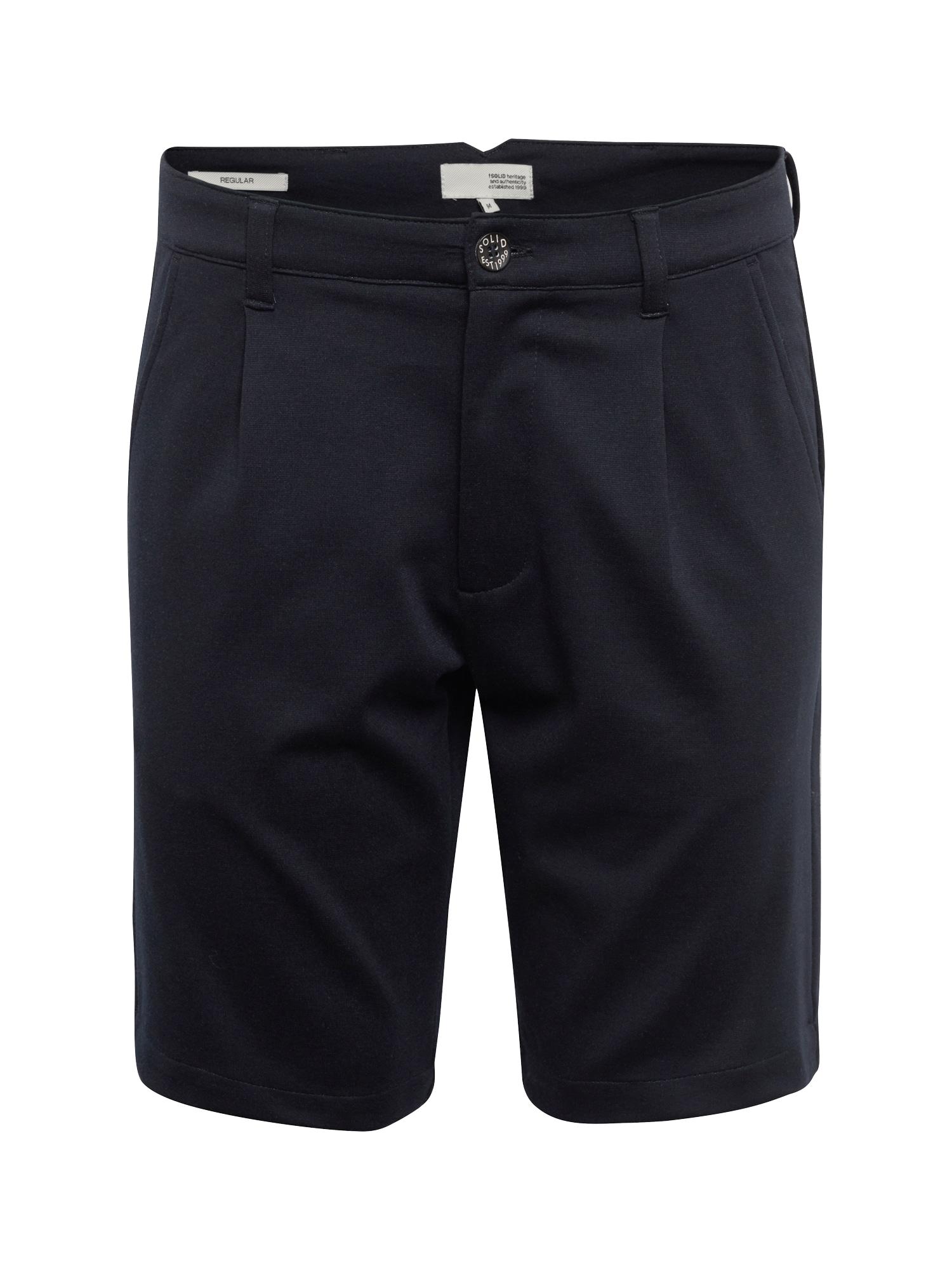 Kalhoty se sklady v pase Carlos Pleat kobaltová modř !Solid