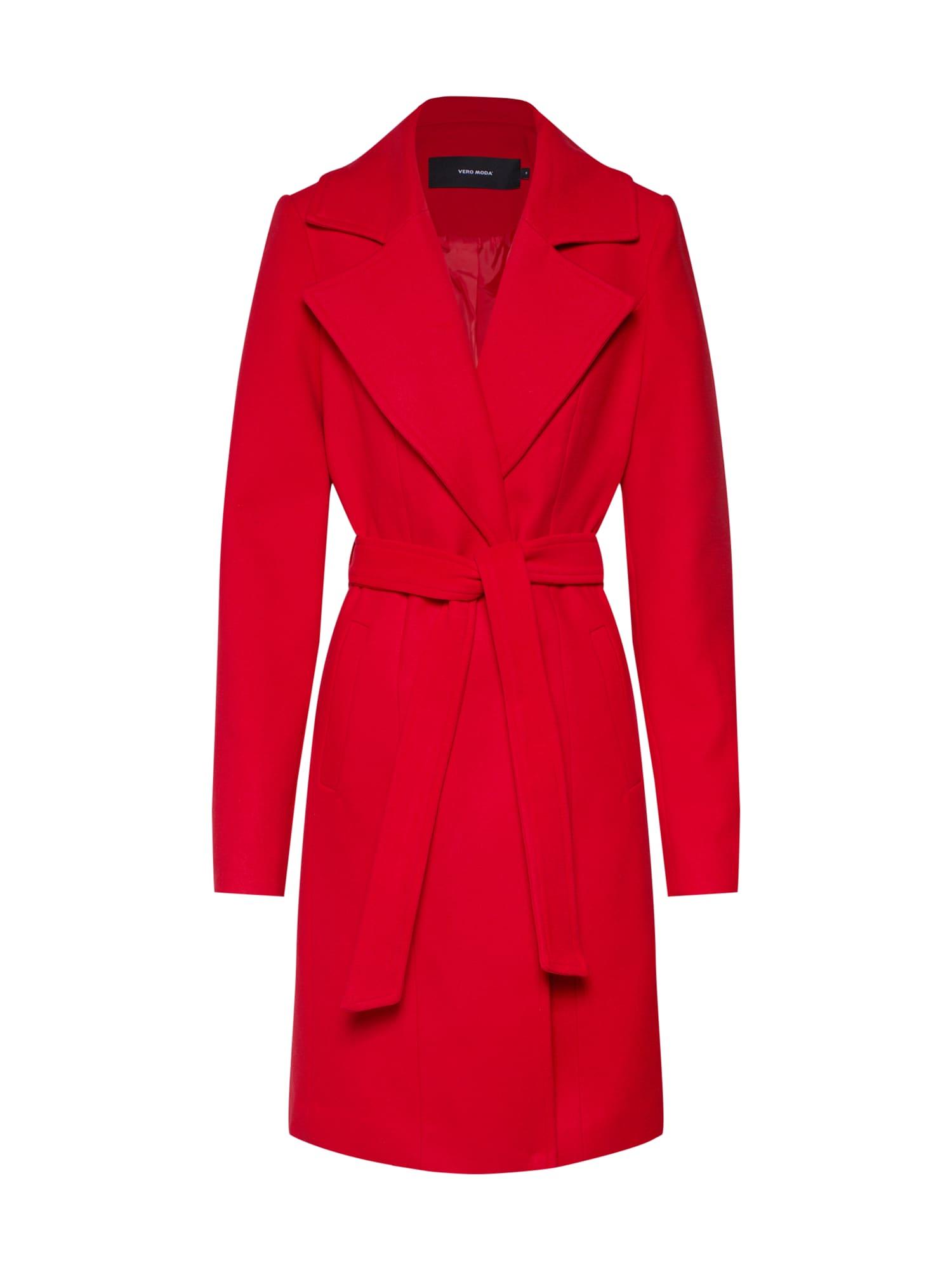 Přechodný kabát VMCALA TREN červená VERO MODA