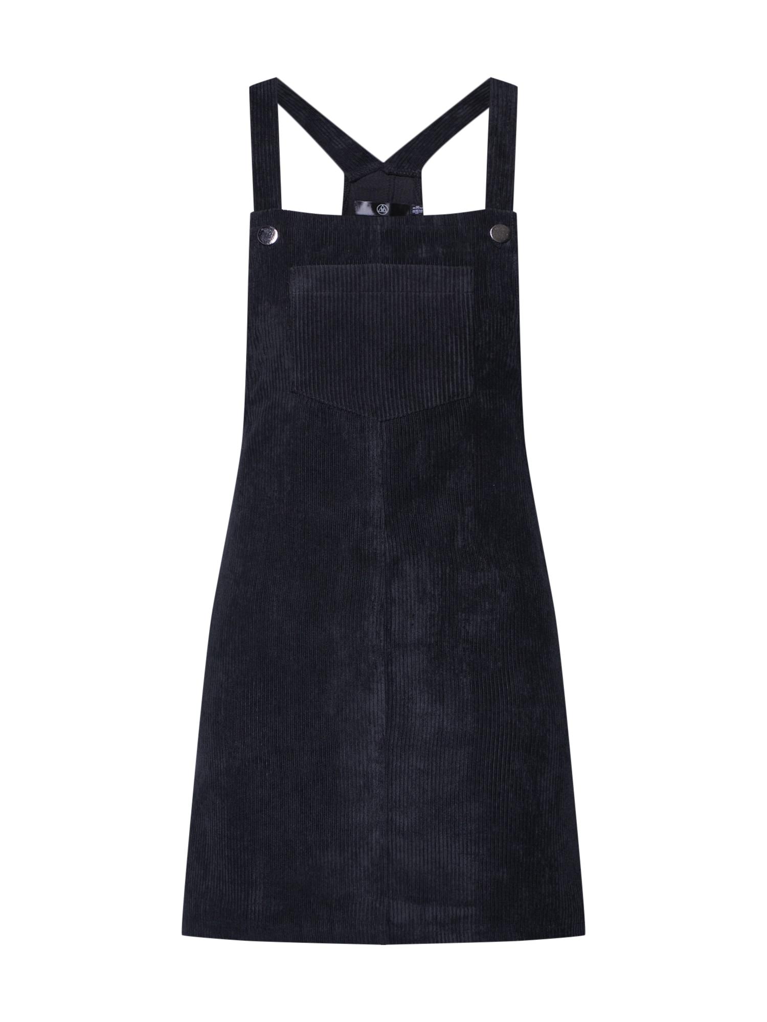 Laclová sukně CORDUROY PINAFORE DRESS černá Missguided
