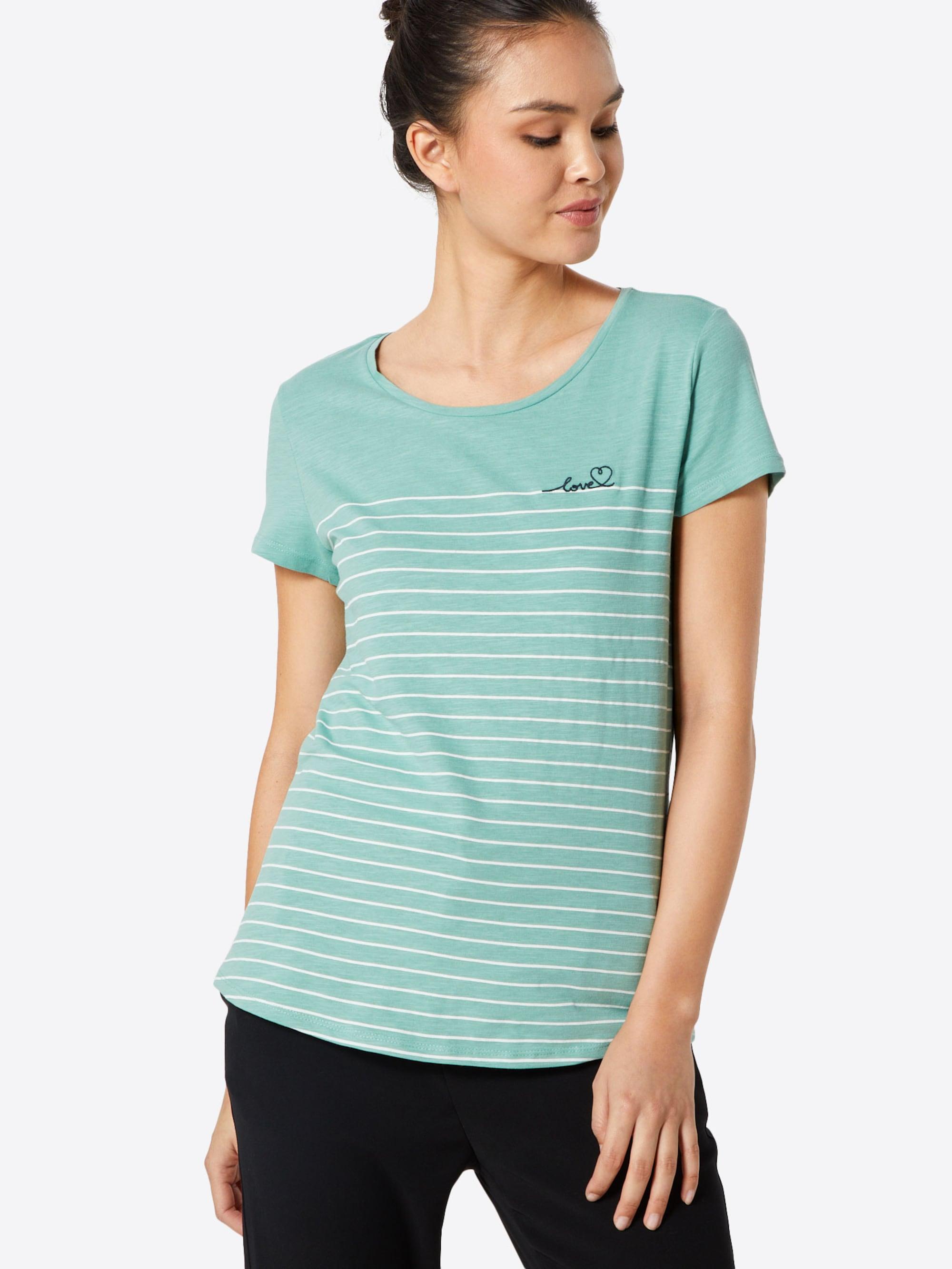 TOM TAILOR DENIM Koszulka  zielony / biały