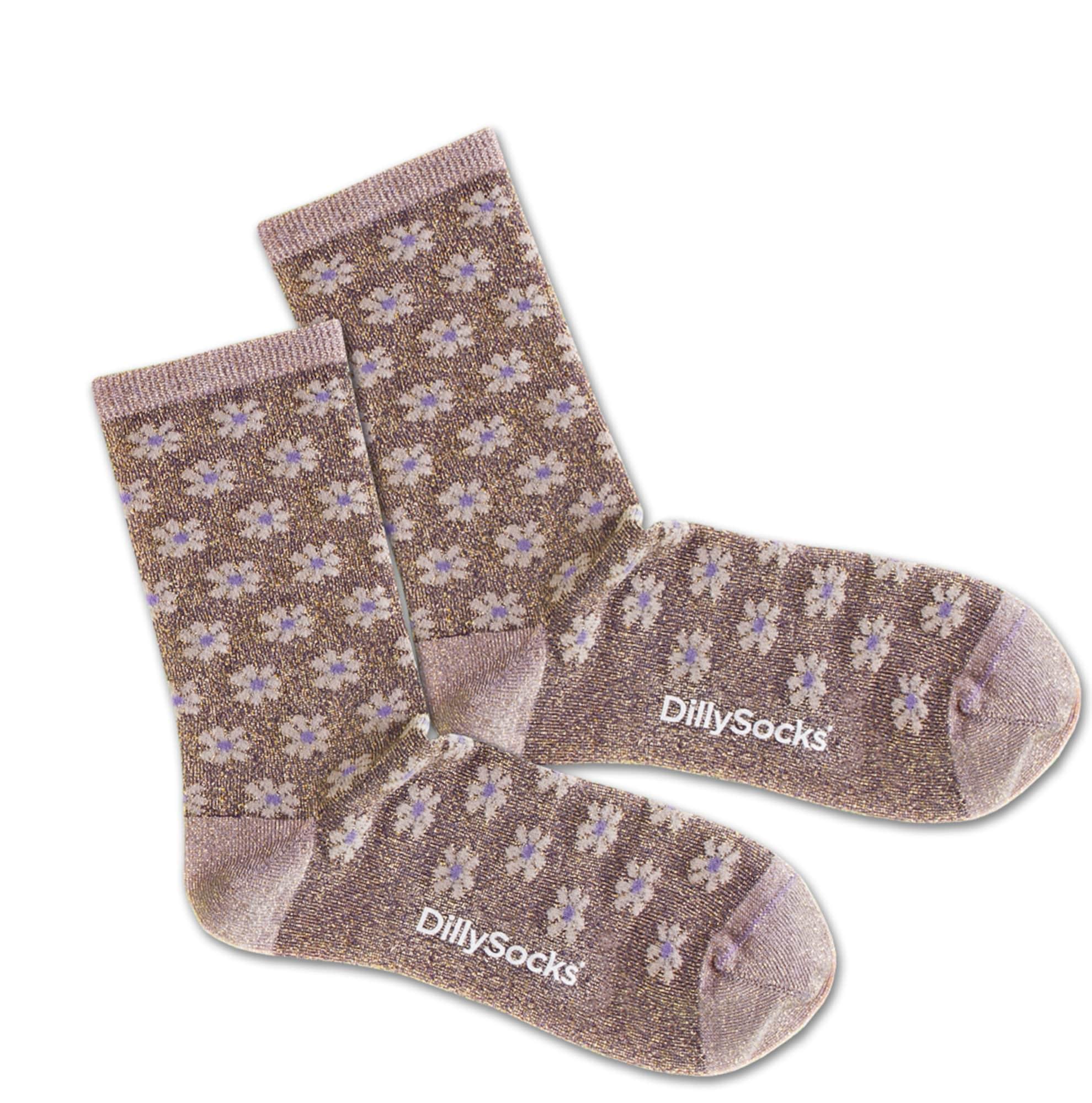 Ponožky Sweet Clay Court fialkově modrá stříbrná DillySocks