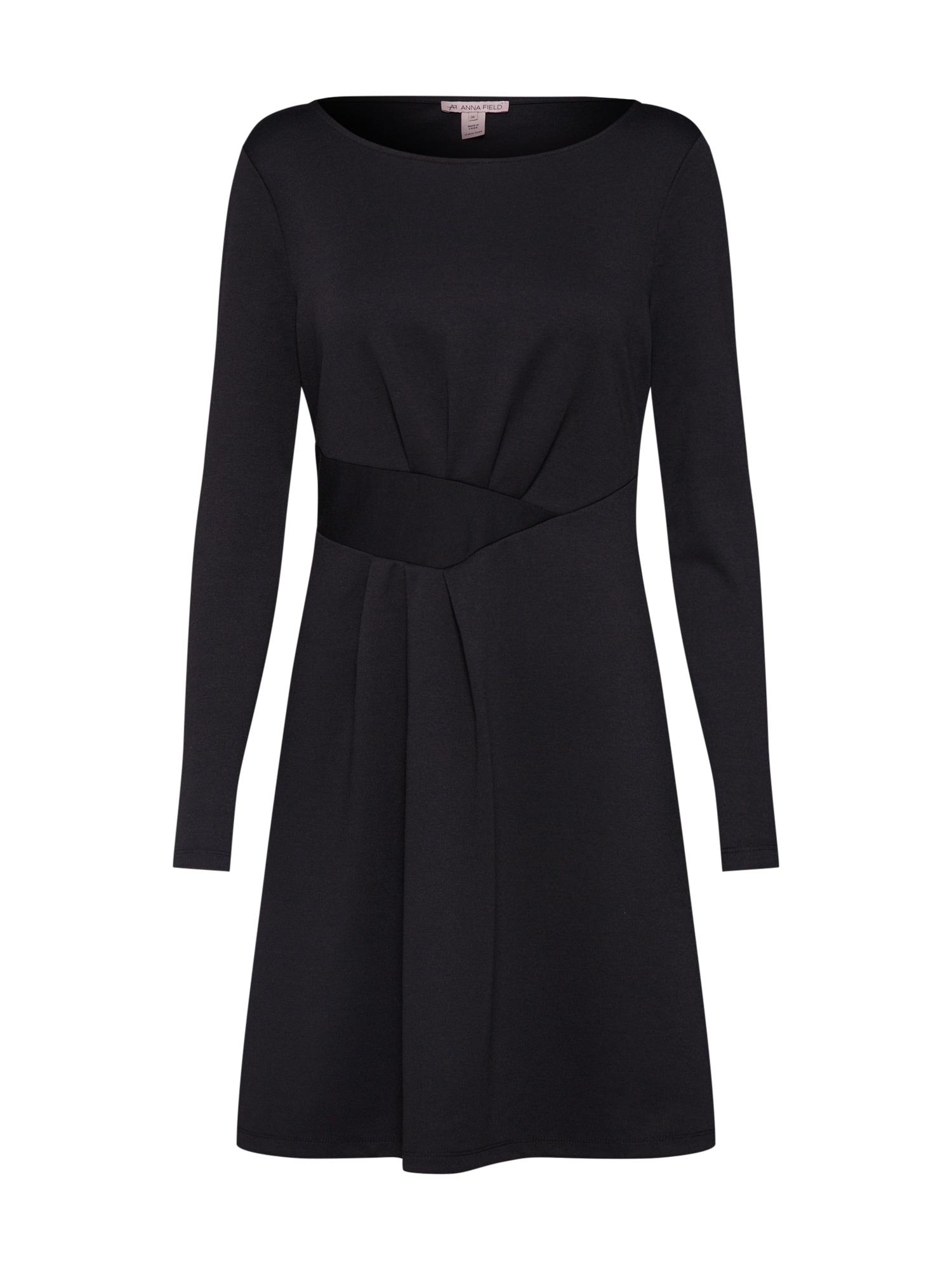 Anna Field Jurk 'longsleeved dress with assymmetric belt and folds' zwart
