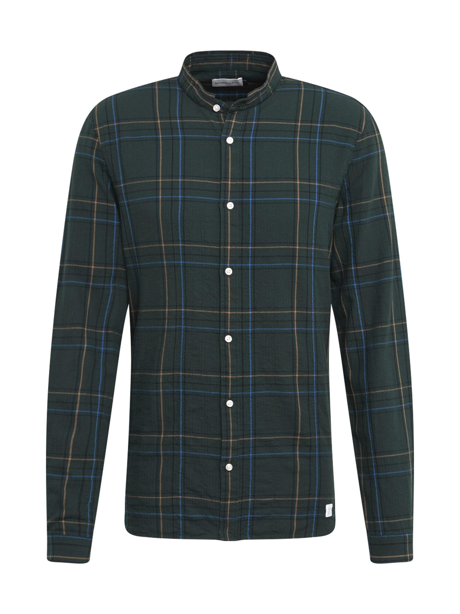 Košile grandad check shirt tmavě zelená NOWADAYS